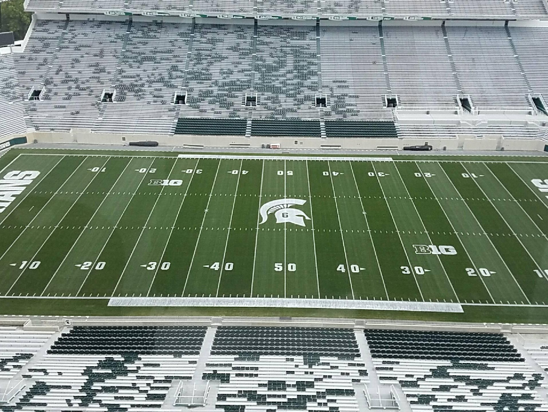 Mylan Hicks' No. 6 is etched into the helmet logo at midfield of Spartan Stadium for Saturday's game against BYU.