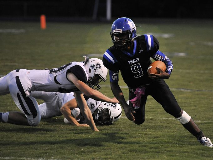 Charlestown's Brendan Lawler looks for space against Providence this season. The Pirates moved up a spot to No. 12 in the latest Class 3A AP poll.