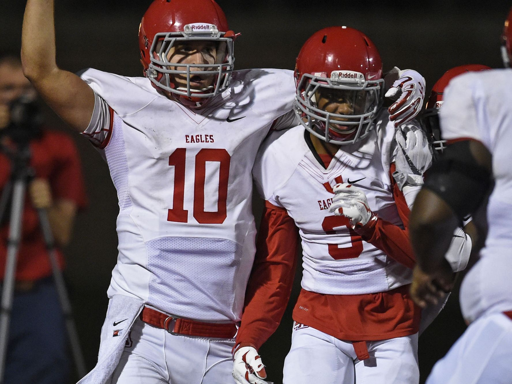 Brentwood Academy's Lawrence Segree (9) and Gavin Schoenwald (10)