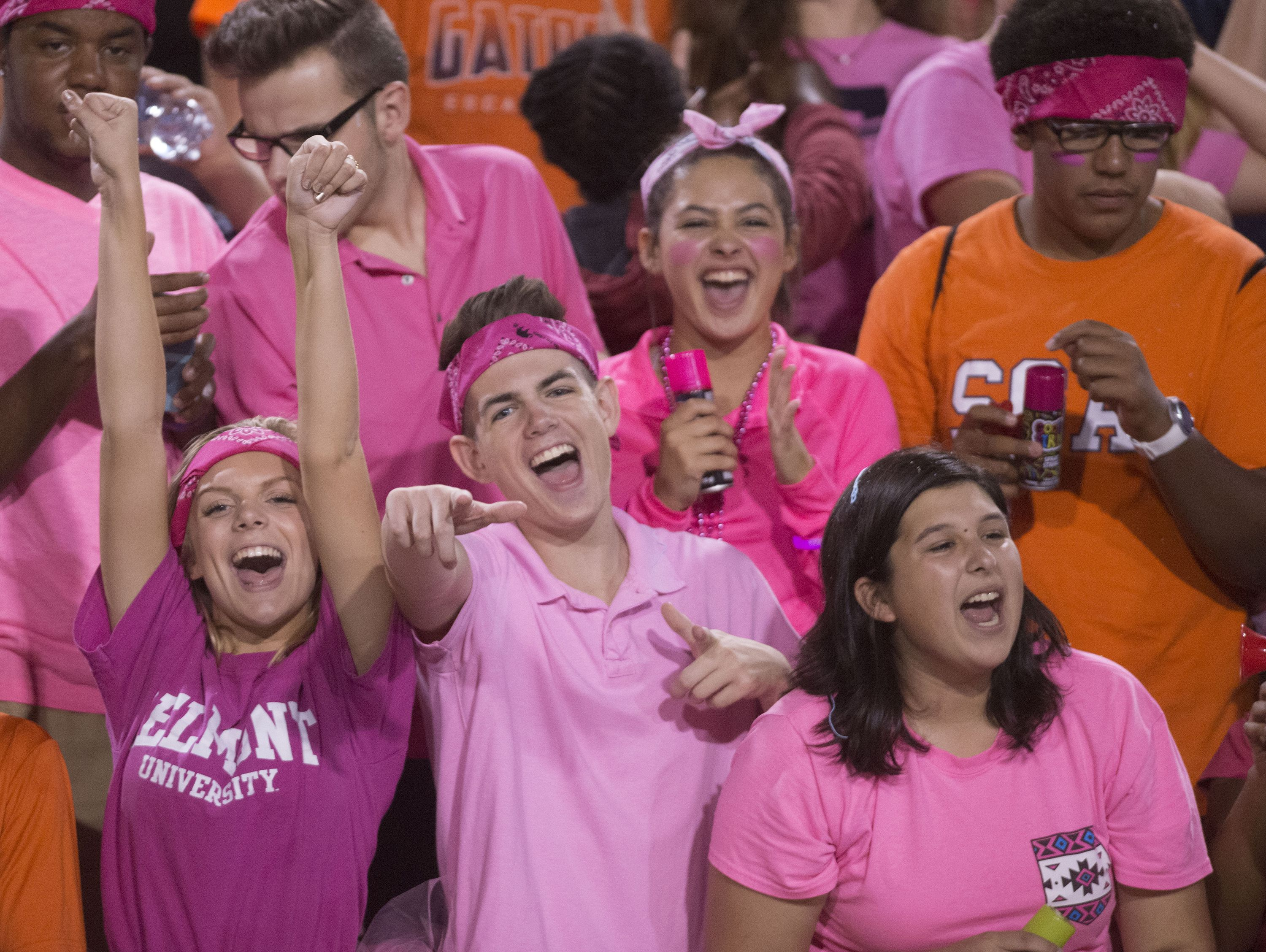 Escambia High School football fan cheers for the home team during Friday night's game against Navarre High School.