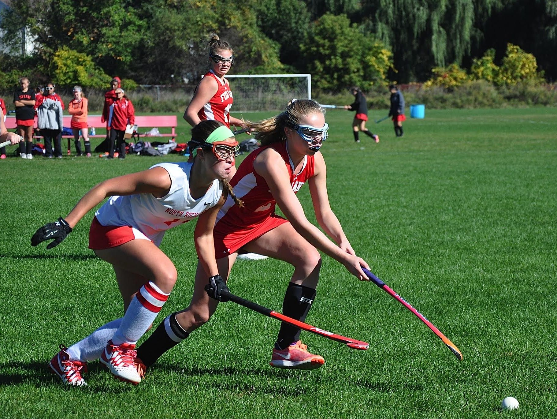 North Rockland's Kerri Gutenberger (l) and Fox Lane's Emma Campbell race for the ball..