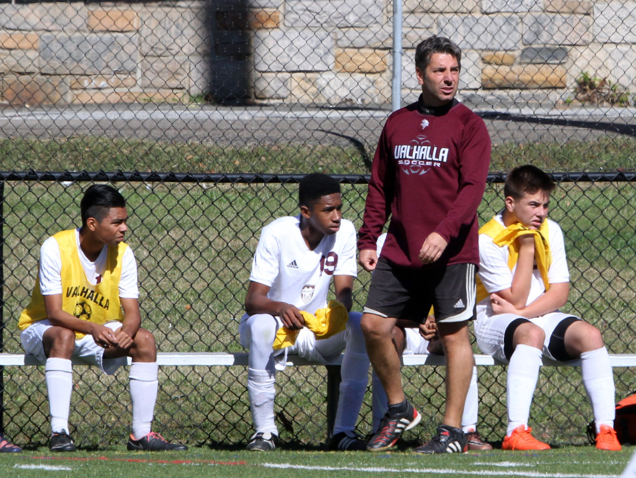 Valhalla soccer coach Sandro Prosperino coaches during a game against Goshen'during the Section 1 vs. Section 9 boys soccer challenge at Mamaroneck High School Oct. 10, 2016.