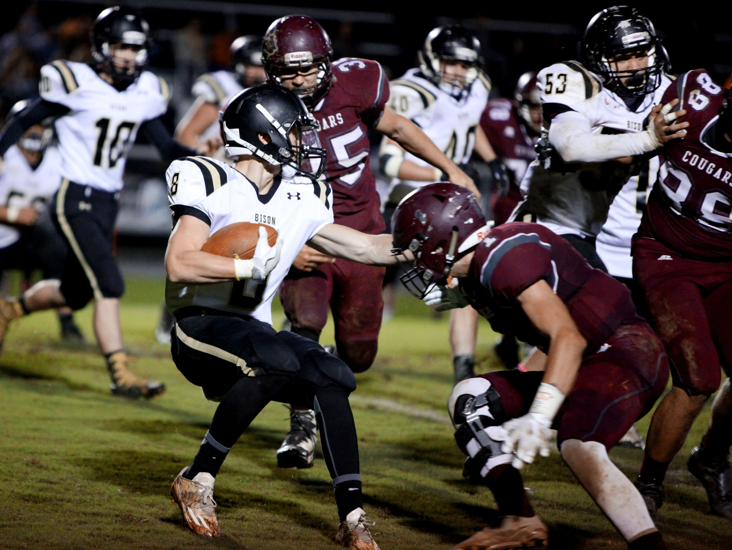 Buffalo Gap's Carter Rivenburg carries the ball during a play in the first half of the game in Stuarts Draft on Monday, Oct. 10, 2016, which was rescheduled due to rain last Friday.