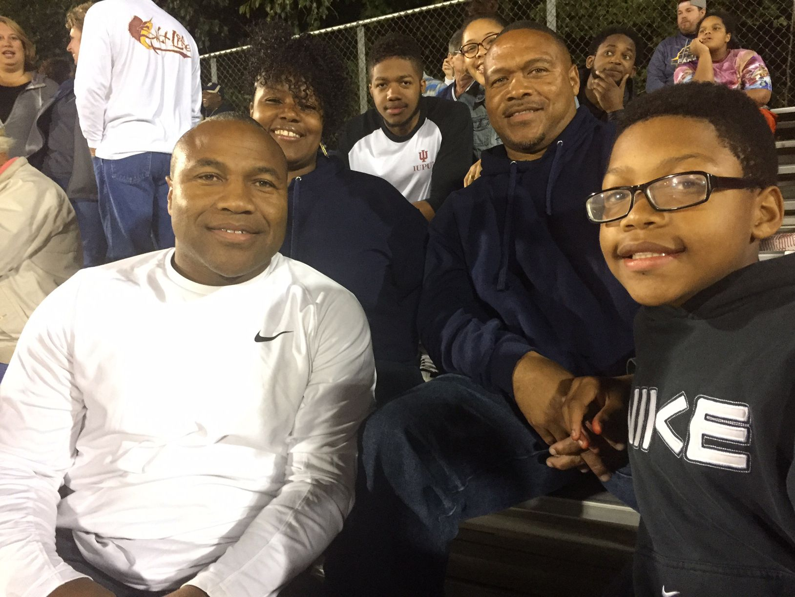 From left: Larry Tracy Jr., Laverna, Charles Turner V (young man top center), Jasmine (Larry Jr's daughter, North Central grad going for Ph.D in physical therapy at IUPUI), Tyrone Sr., his youngest son Javon.
