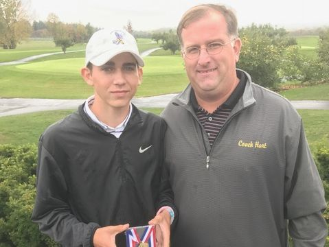 Franklin D. Roosevelt golfer Jeffrey Peters with coach Kevin Hart after winning the Mid-Hudson Athletic League golf title on Oct. 13, 2016.