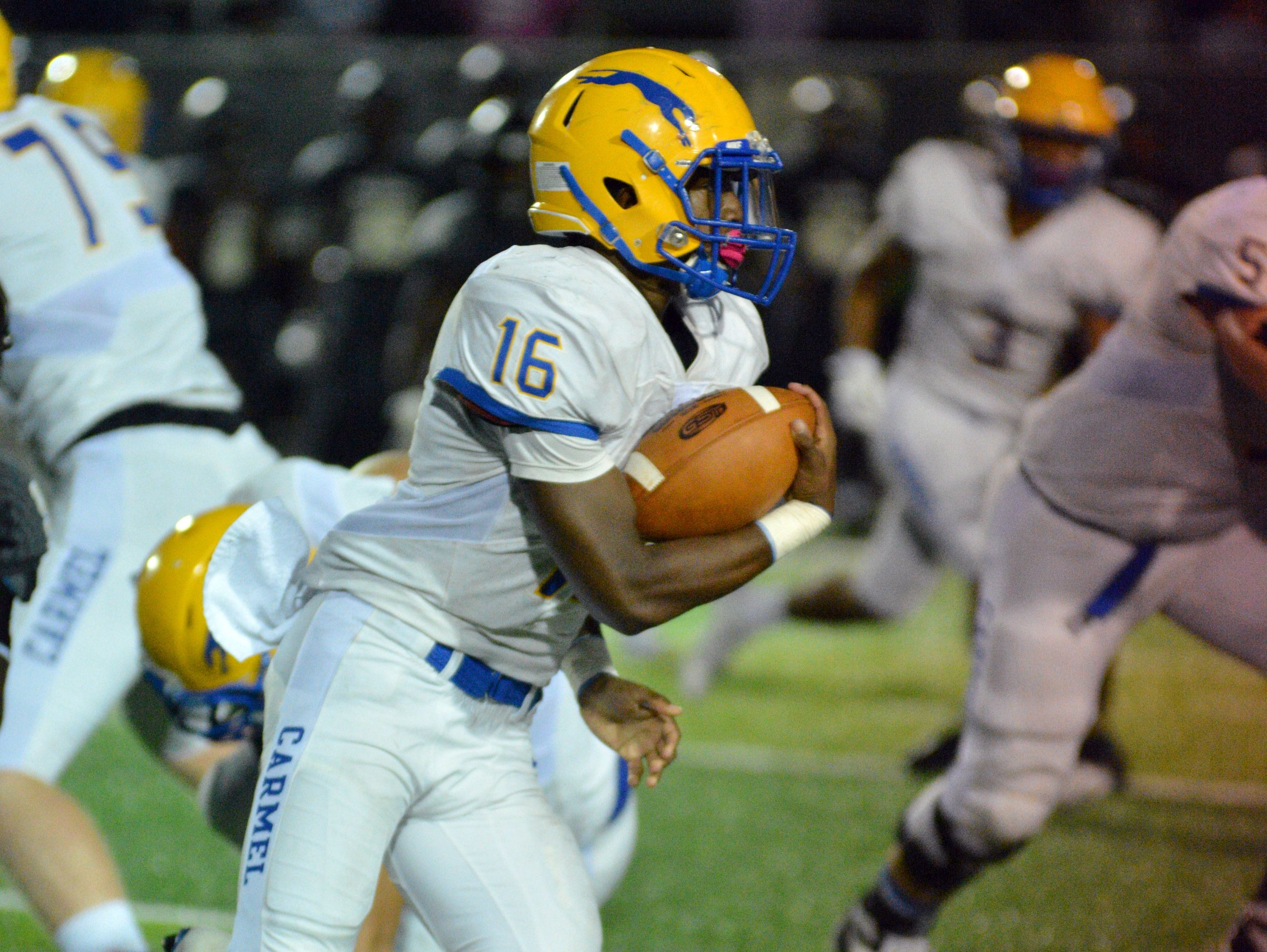 Camari Hunt leads Class 6A No. 9 Carmel into tonight's MIC Network Game of the Week against No. 12 Lawrence Central.