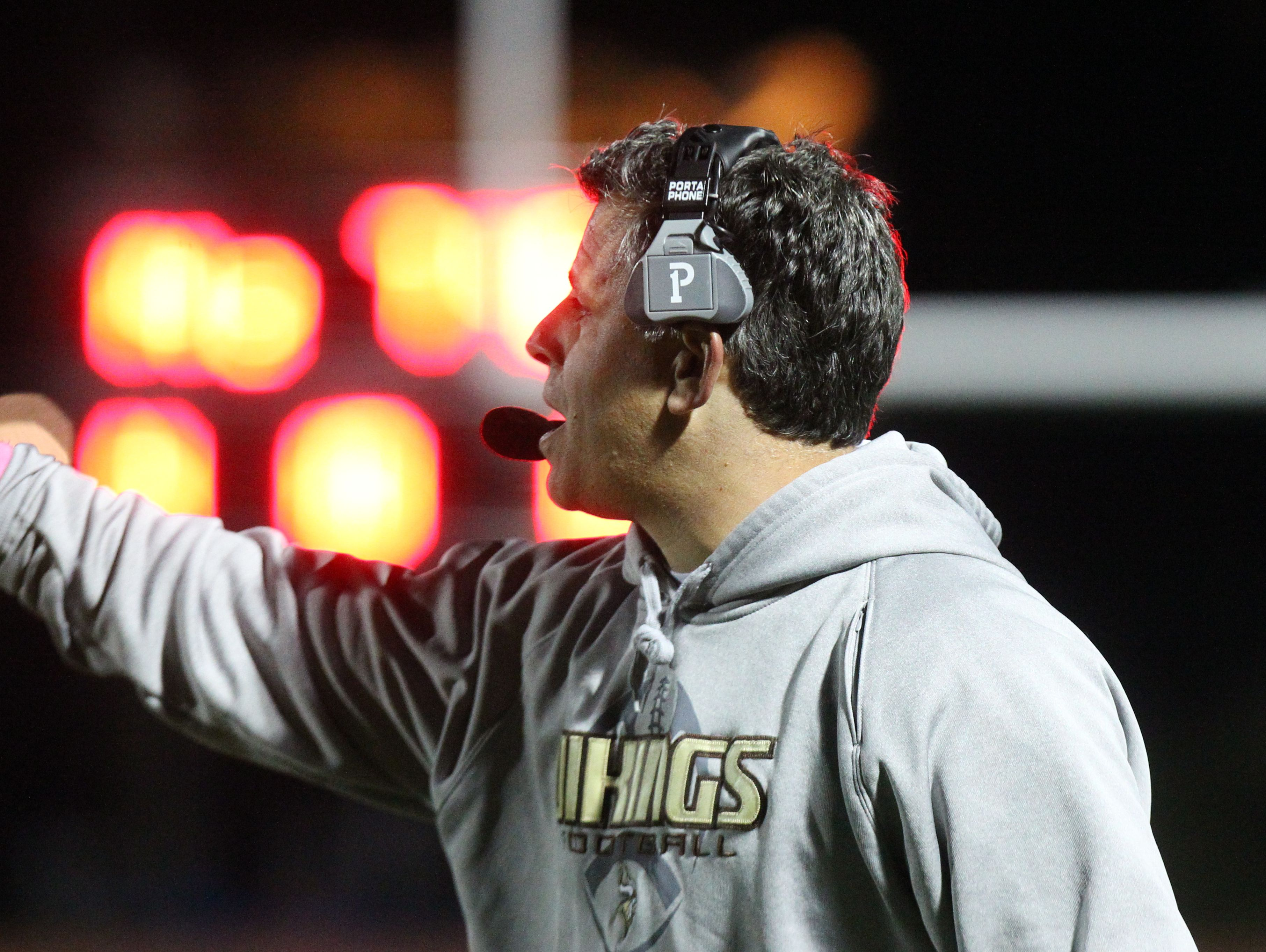 Clarkstown South head coach Mike Scarpelli during a Class AA football playoff game at with Mahopac at Clarkstown South Oct. 14, 2016.