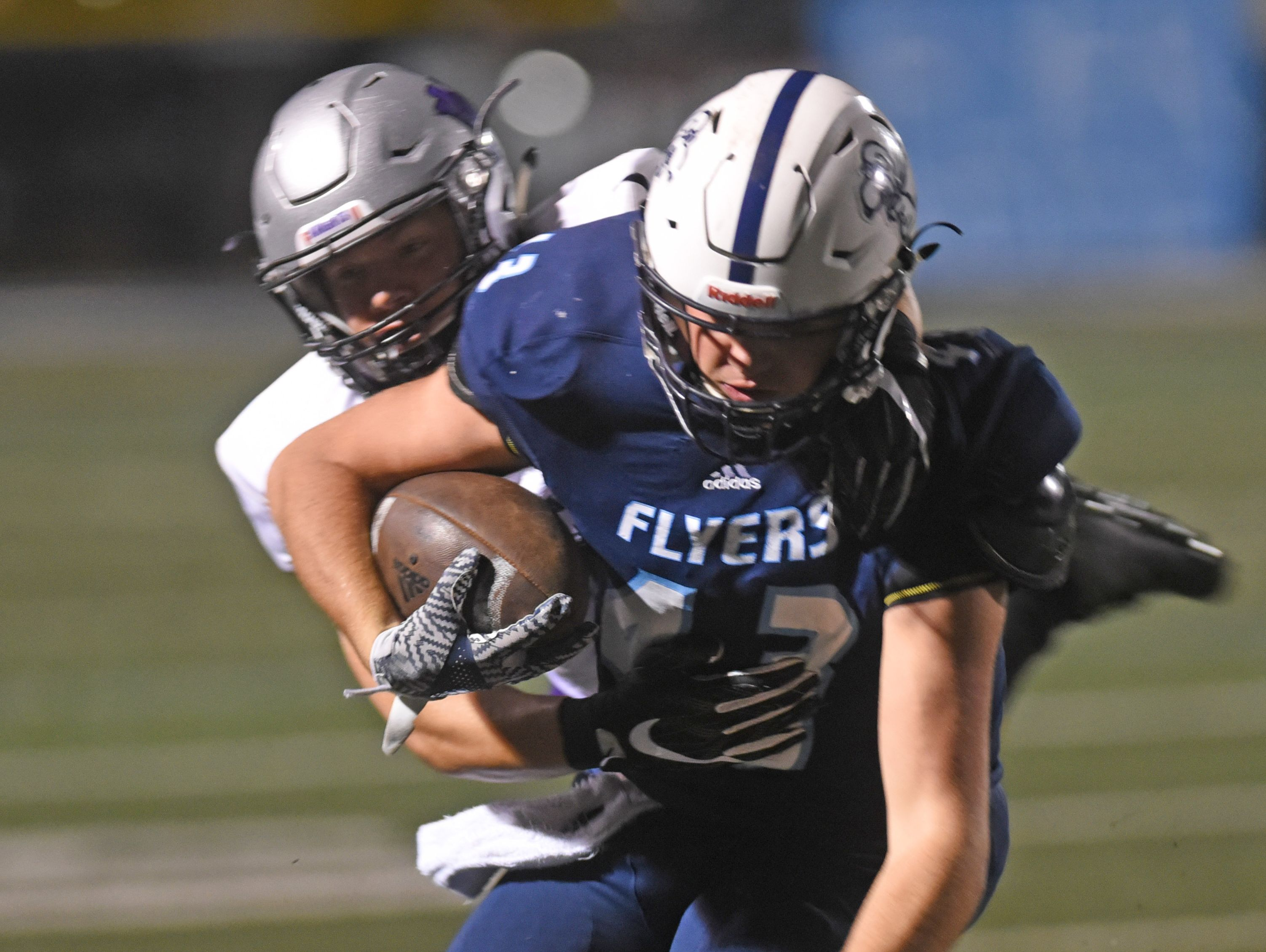 Loyola's Ethan Stansell had another 200-yard rushing game in the Flyers 40-34 win over North Webster.at Messmer Stadium
