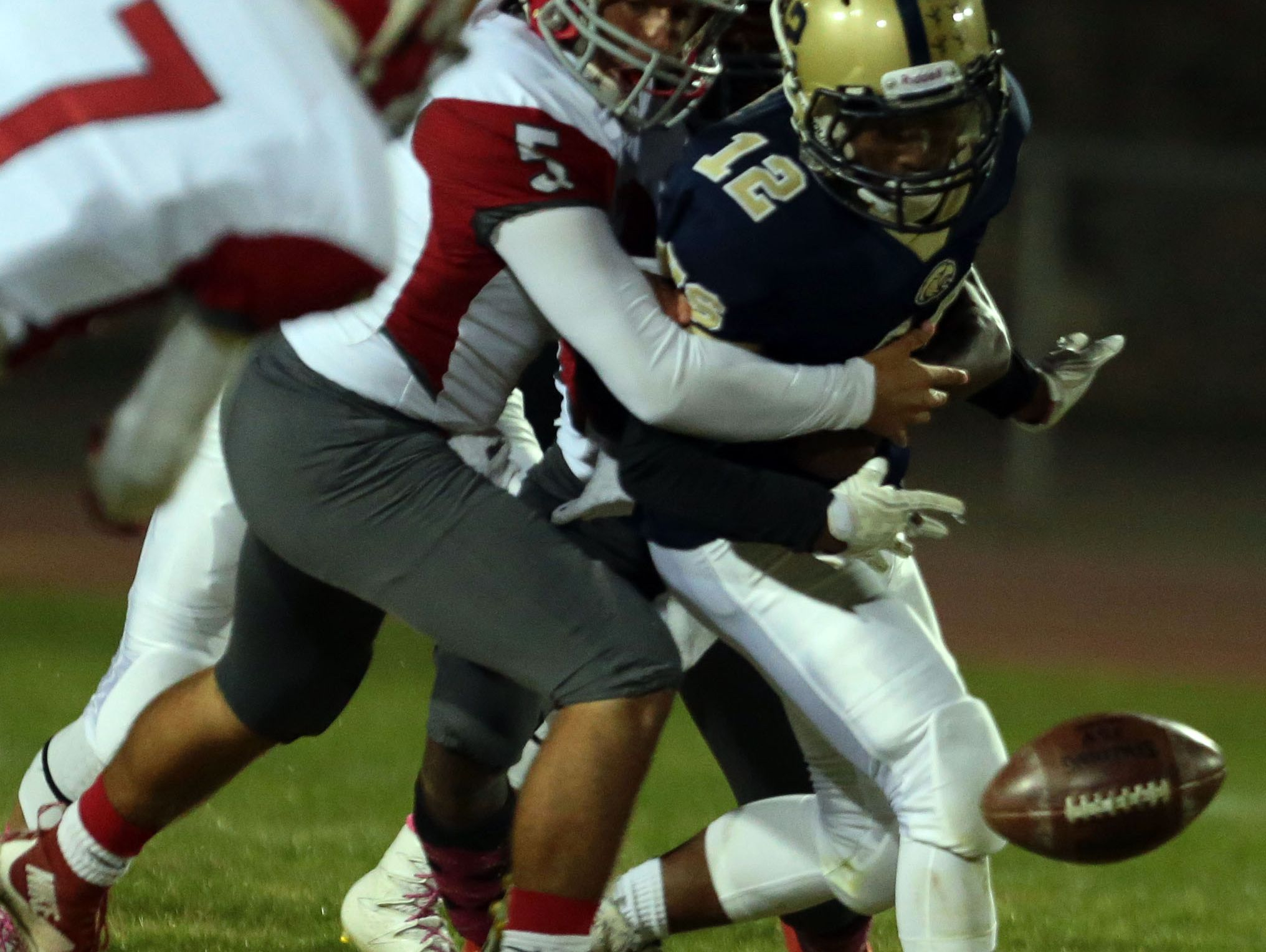 Desert Hot Springs' fumbled ball is recovered by Desert Mirage in the first quarter on Friday, October 14, 2016 in Desert Hot Springs.