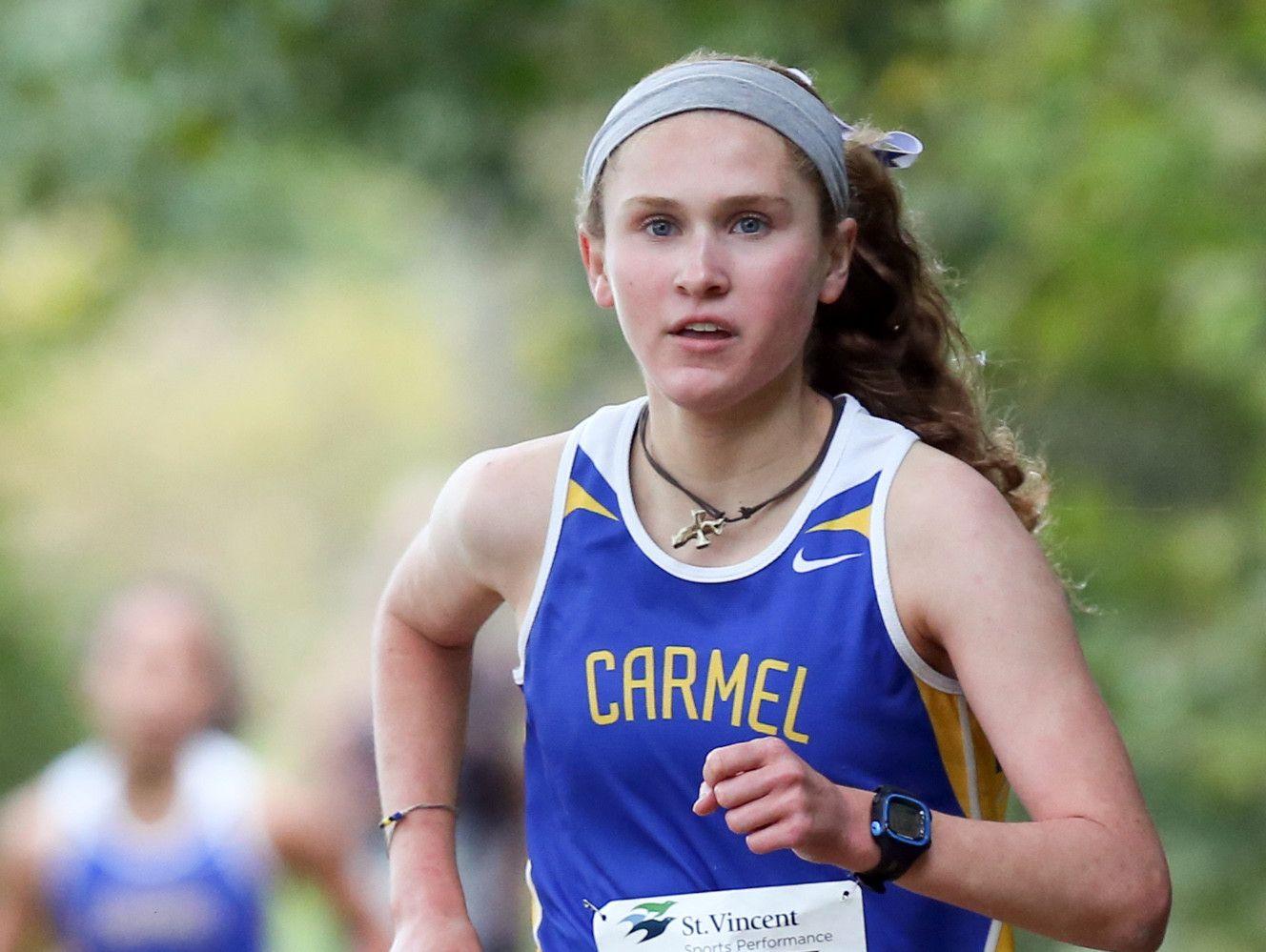Carmel's Sarah Leinheiser, the defending state champ, won the girls race at Saturday's Noblesville regional.