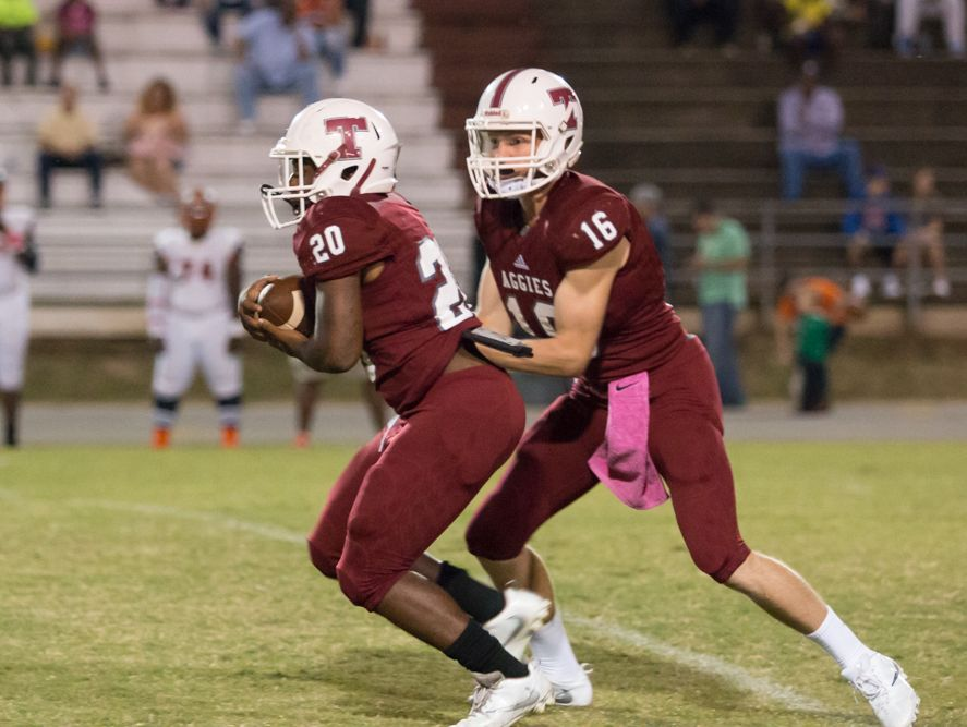 Tate running back Chris Moorer (20) takes the handoff from quarterback Jake Henry (16) Friday night at Tate High School.