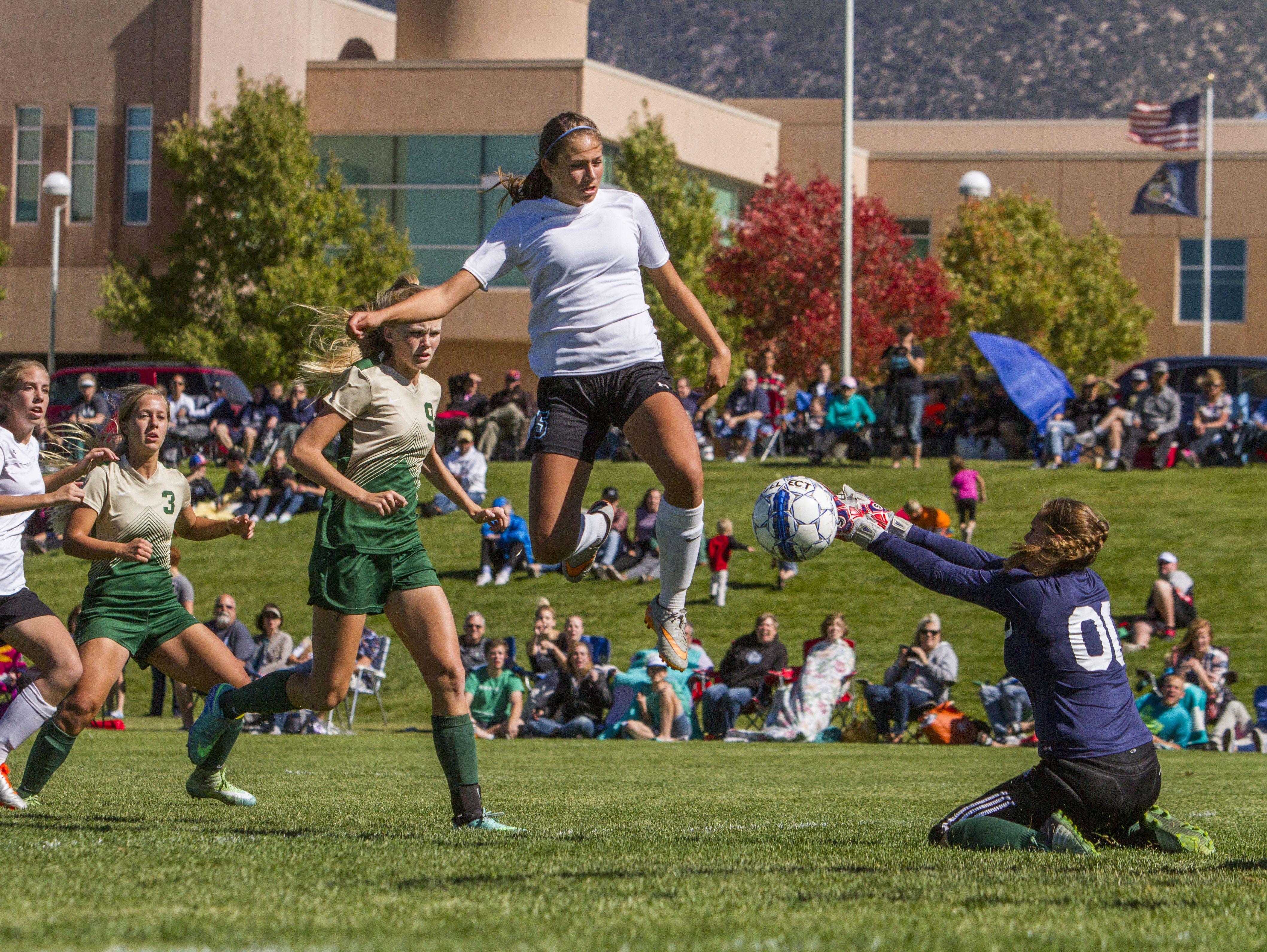 Canyon View's Morgan Haag (5) scores a goal during Saturday's playoff game against Snow Canyon in Cedar City, Oct. 15, 2016.