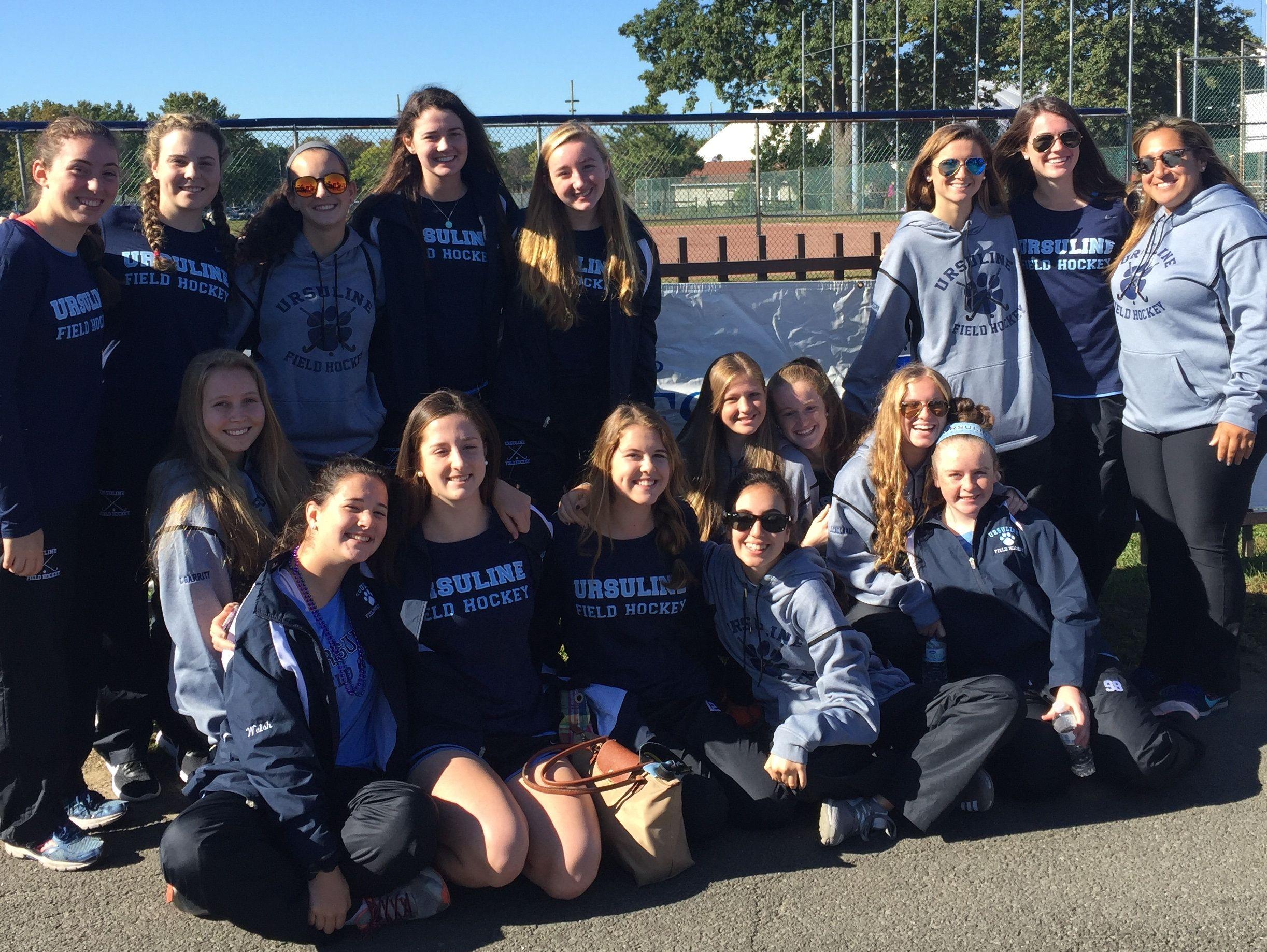 Ursuline field hockey team at Mamaroneck's Long Island Sound harbor for Saturday's suicide prevention walk