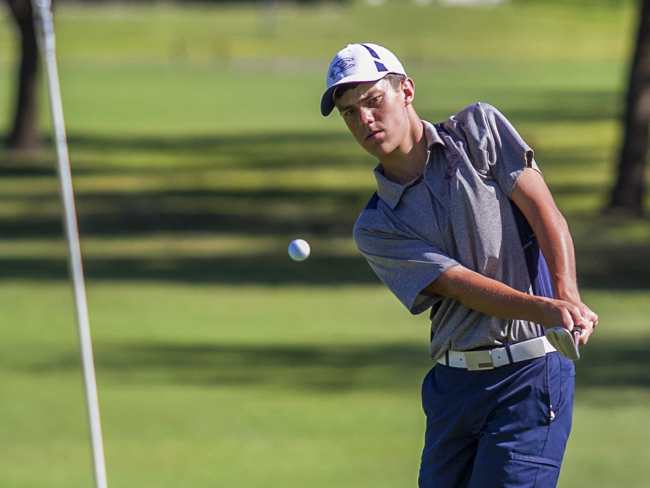 Jonah Manning, a member of the Estero High School golf team, chips onto the third green while playing in the FHSAA class 2A Region 7 tournament Monday morning at Palmetto-Pine Country Club in Cape Coral.