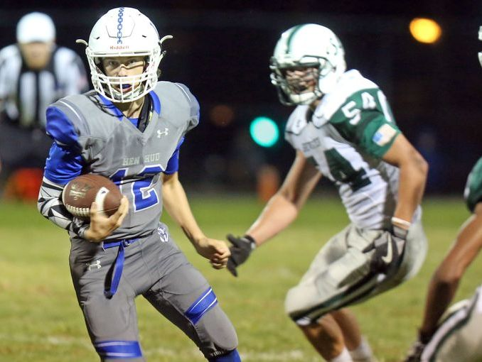 Brewster and Hud Hud will have a rematch in the Class A quarterfinals. Hen Hud and Nick Cunningham (pictured left) lost 56-49 to Brewster on Sept. 16, 2016 at Hen Hud High School.