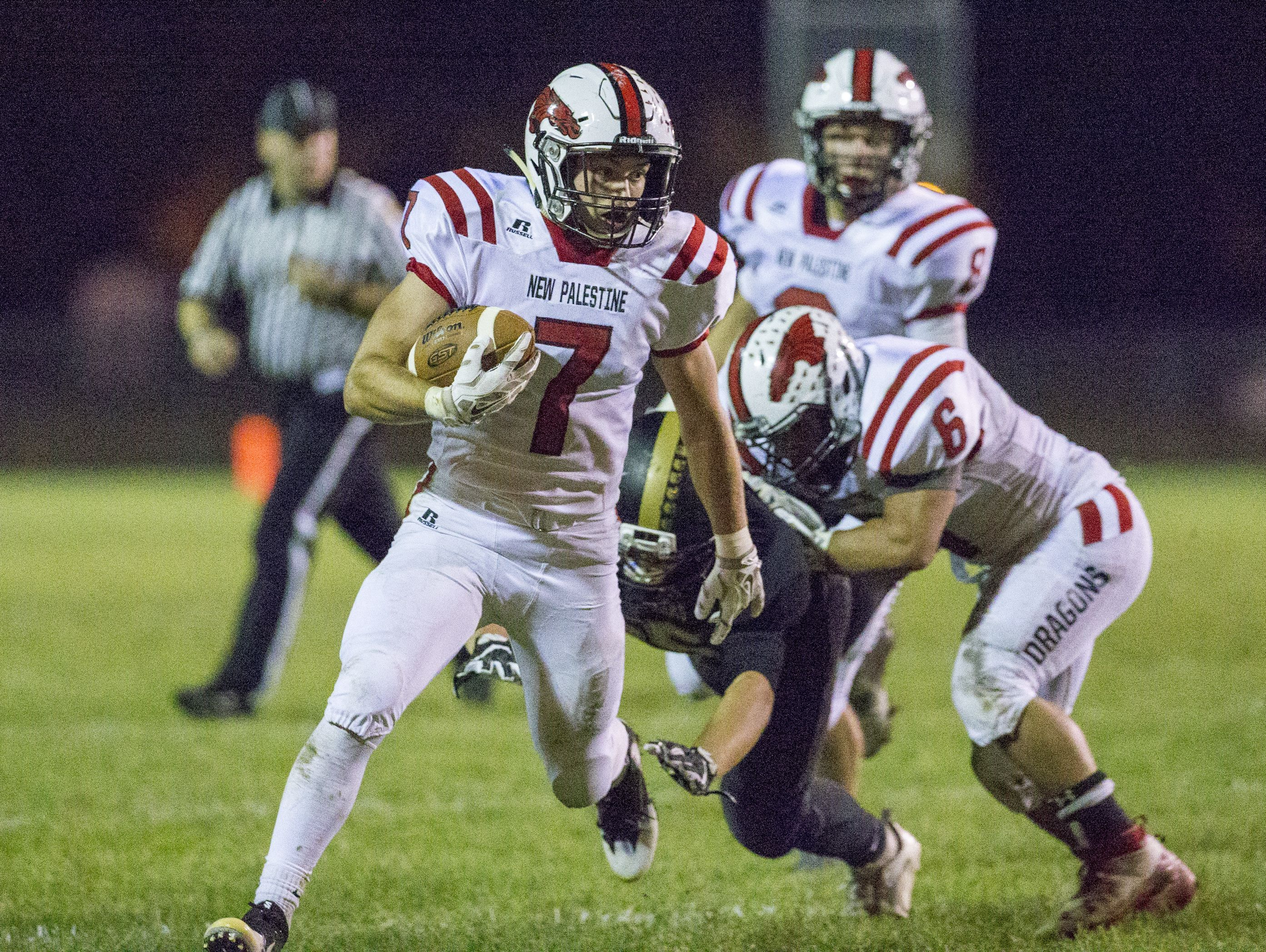 Adam Kincaid (7) and New Palestine face a familiar foe in Friday's sectional opener – Columbus East.