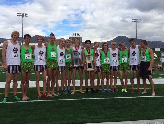 Members of the Desert Hills and Pine View cross country teams pose for a picture after taking first and second respectively in the 3A state tournament at Sugar House Park last year.