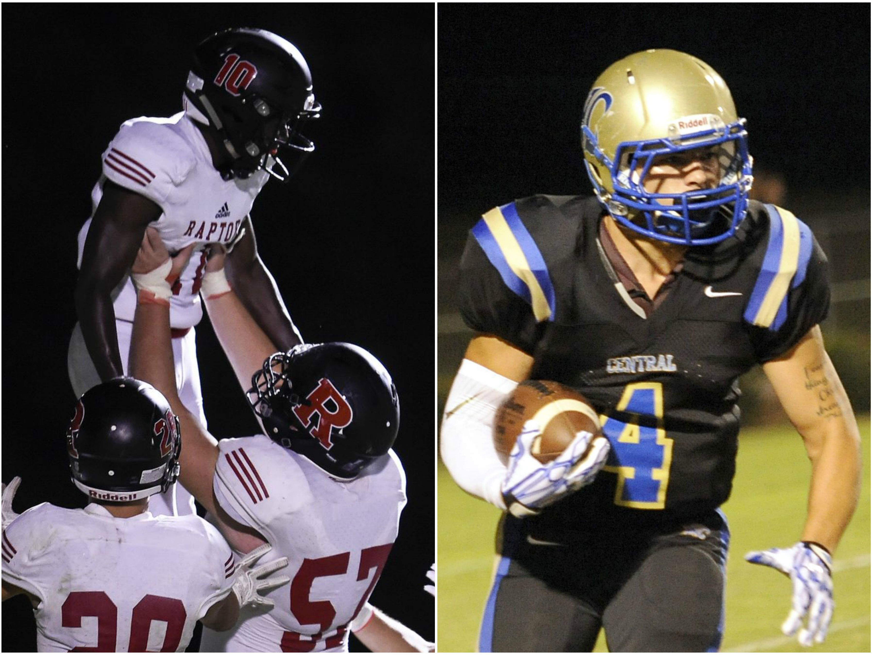 Ravenwod wide receiver Anthony Holmes (left) and Wilson Central running back Tyler Bowes (right)