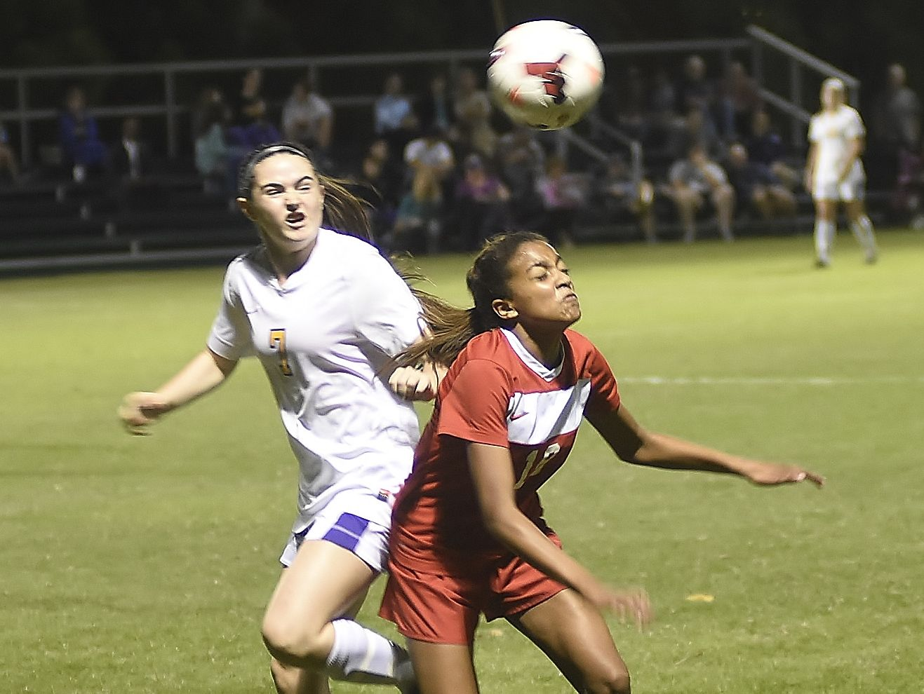 Alex Green hits a header Tuesday night against Lipscomb.