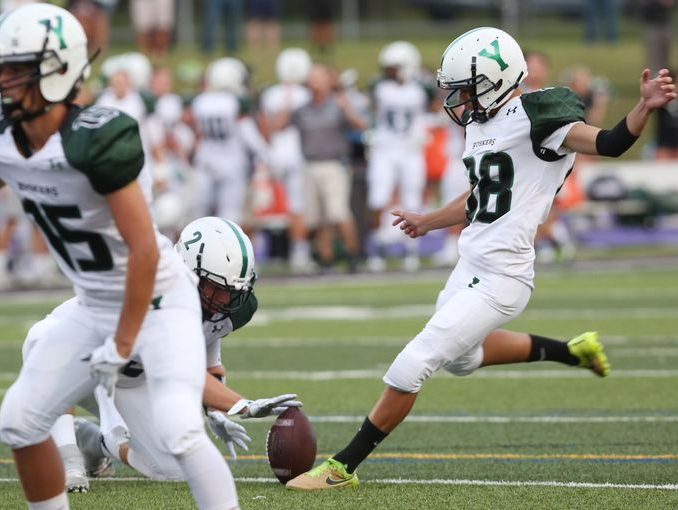 Yorktown kicker Giuliano Santucci lines up for a kick during his team's 44-21 win at John Jay High School on Sept. 2, 2016.