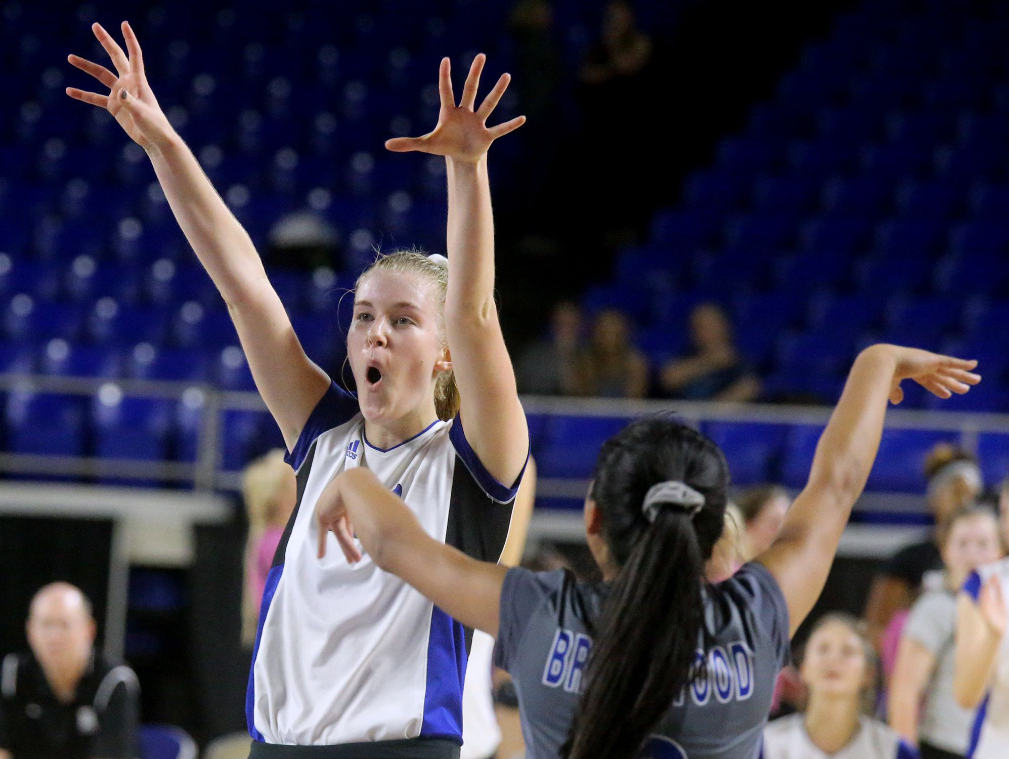 Brentwood's Garrett Joiner (20) and Andrea Aceveda (6) celebrate during the game against Farragut in the TSSAA Class AAA State Girl's Volleyball Tournament on Wednesday, Oct. 19, 2016.