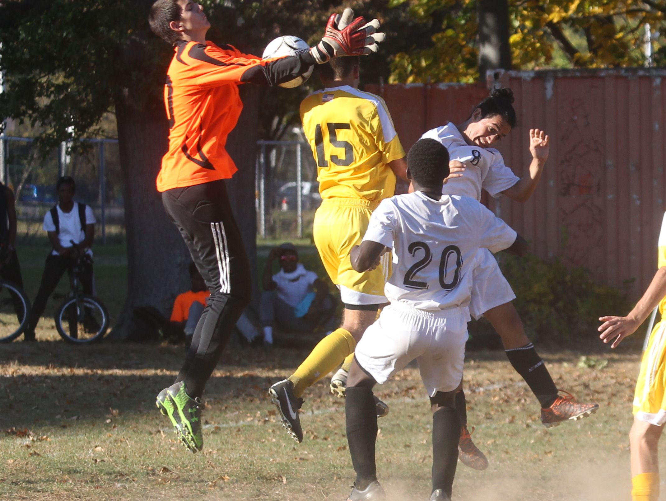 Clarkstown South won 4-2 at Spring Valley in a Class AA boys soccer outbracket game at Spring Valley Oct. 19, 2016.