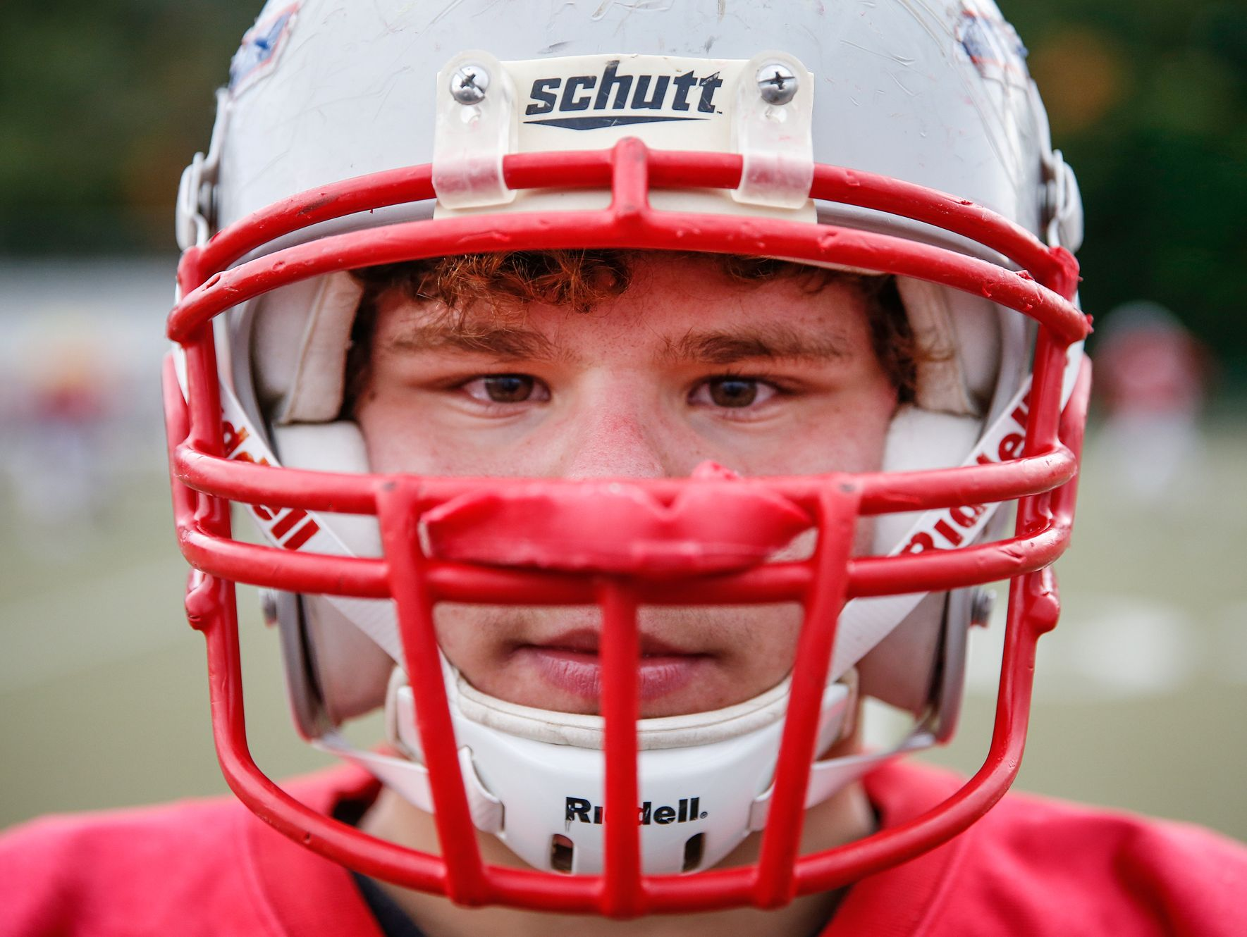 Roncalli Rebels nose tackle Max Quebe, a 5-foot-2-inch, 135-pound Russian adoptee, poses for a portrait during practice on Oct. 19, 2016.