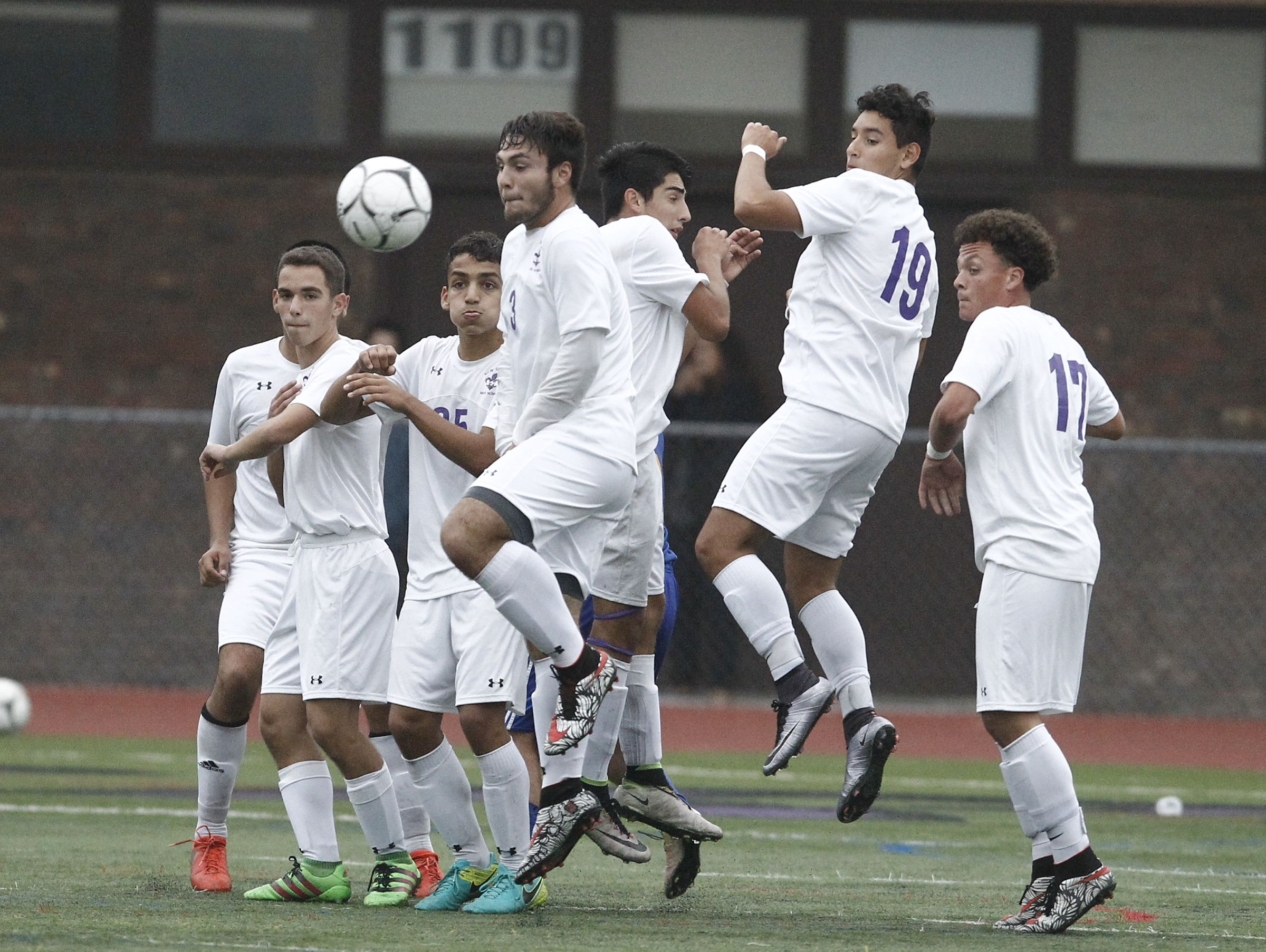 New Rochelle defeats Mahopac 2-0 in the first round of Class AA boys soccer playoffs at New Rochelle High School in New Rochelle on Thursday, October 20, 2016.
