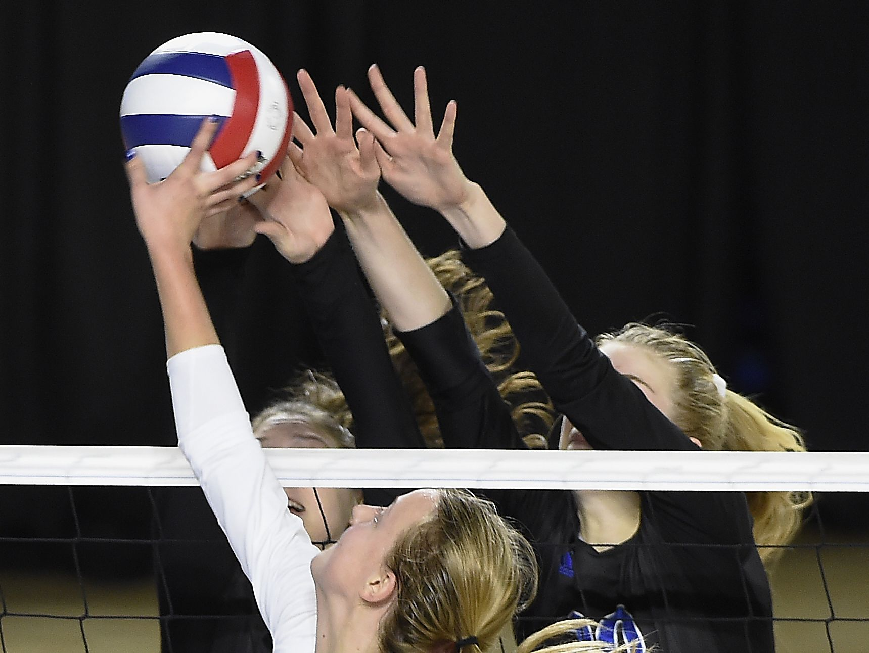 Harden Valley's Alexandria Kirby (10) pushes the ball over the net as Brentwood plays Hardin Valley at MTSU's Murphy Center during the TSSAA volleyball state tournament on Oct. 20, 2016.