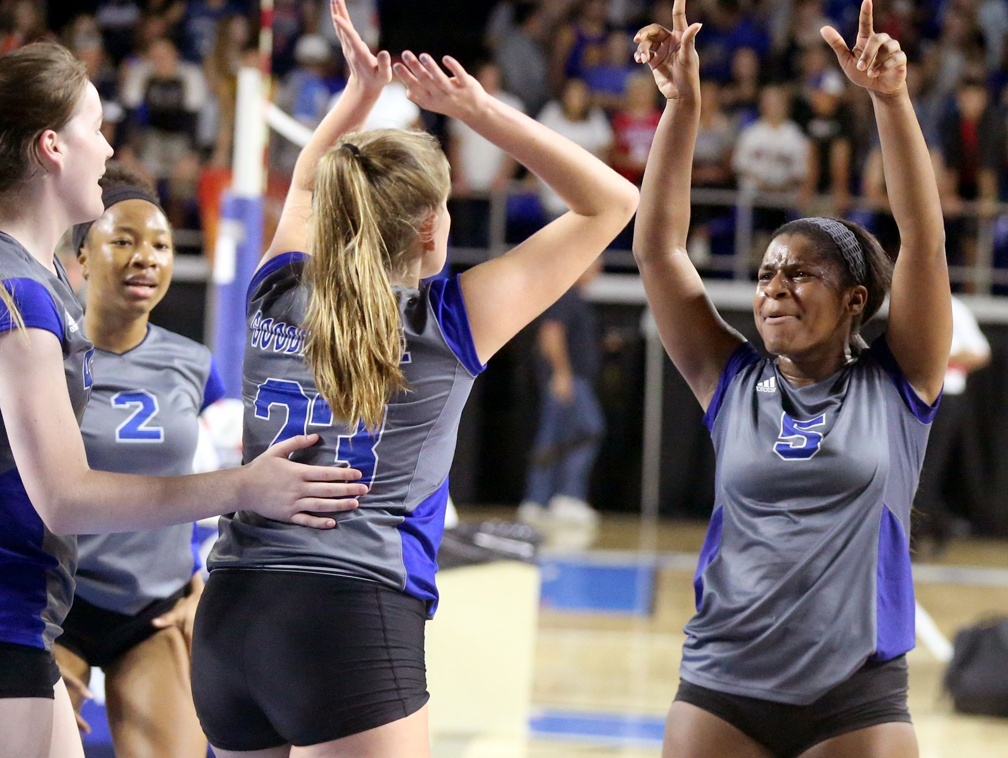 Goodpasture's Jayliegh Rogan (5) and Paige Randolph (23) celebrate beating Concord Christian at the TSSAA Class A State Girl's Volleyball Tournament on Thursday, Oct. 20, 2016.