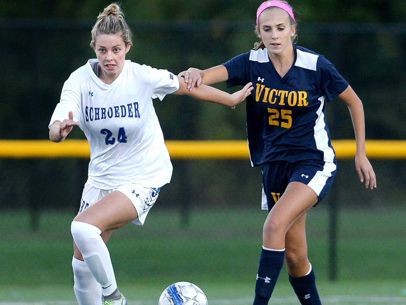 """""""Her feet are much faster and her decision-making is much better,"""" Webster Schroeder coach Kent Brown says about Maddy Lowe, left, now compared to her first two seasons on varsity."""
