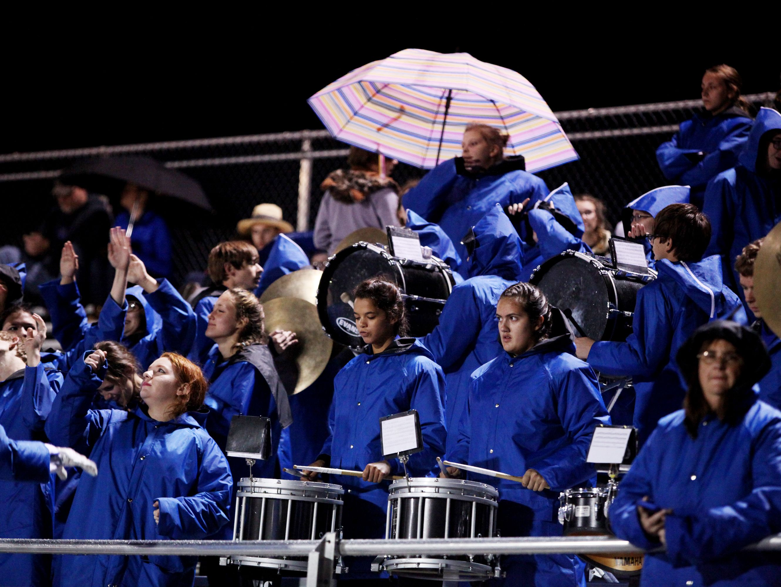 The Fort Defiance High School Band plays during the game against Harrisonburg on Friday, Oct. 21, 2016 at Fort Defiance.