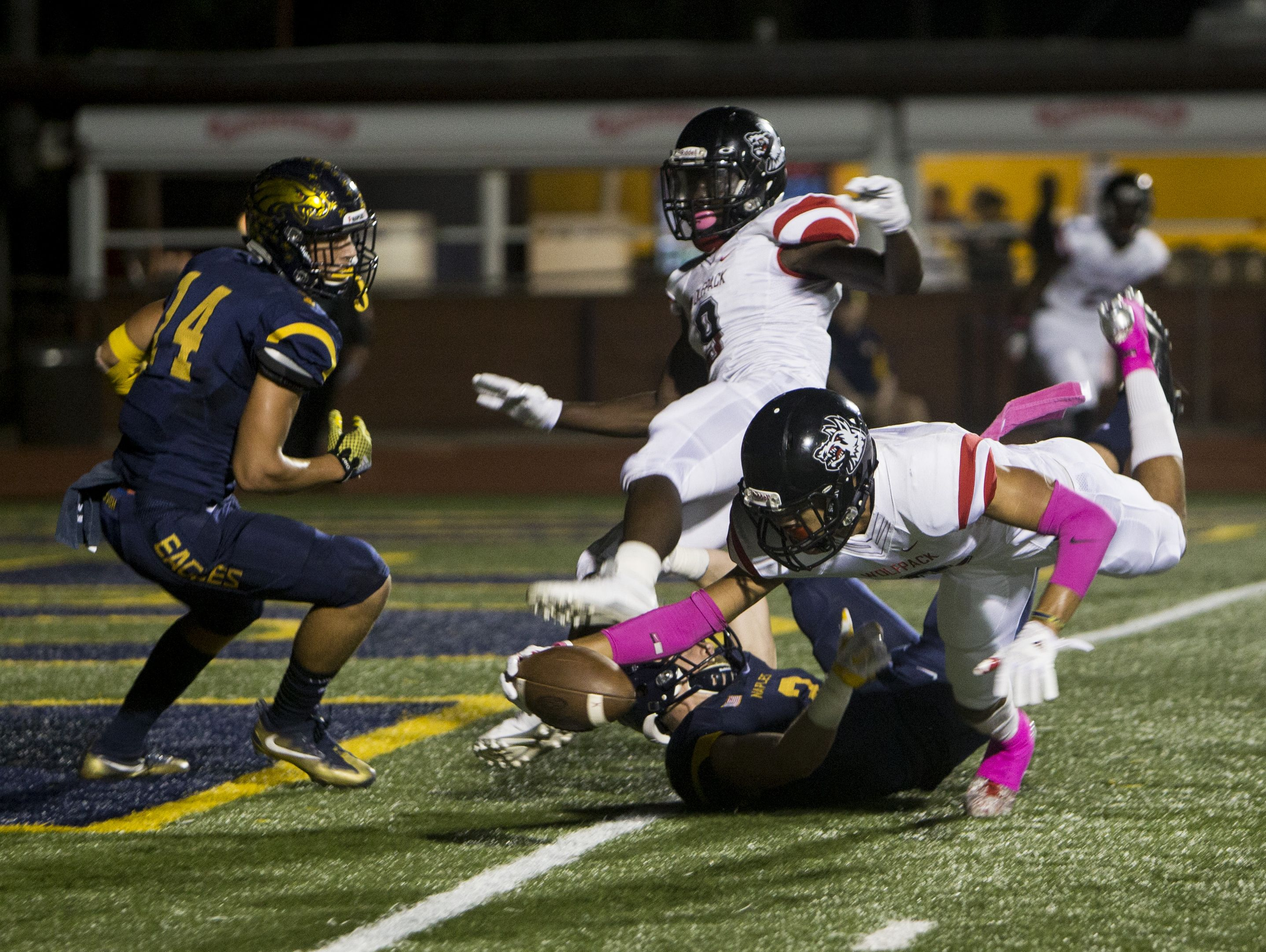 South Fort Myers wide receiver Jeshaun Jones dives to get a touchdown during their matchup against Naples on Friday,