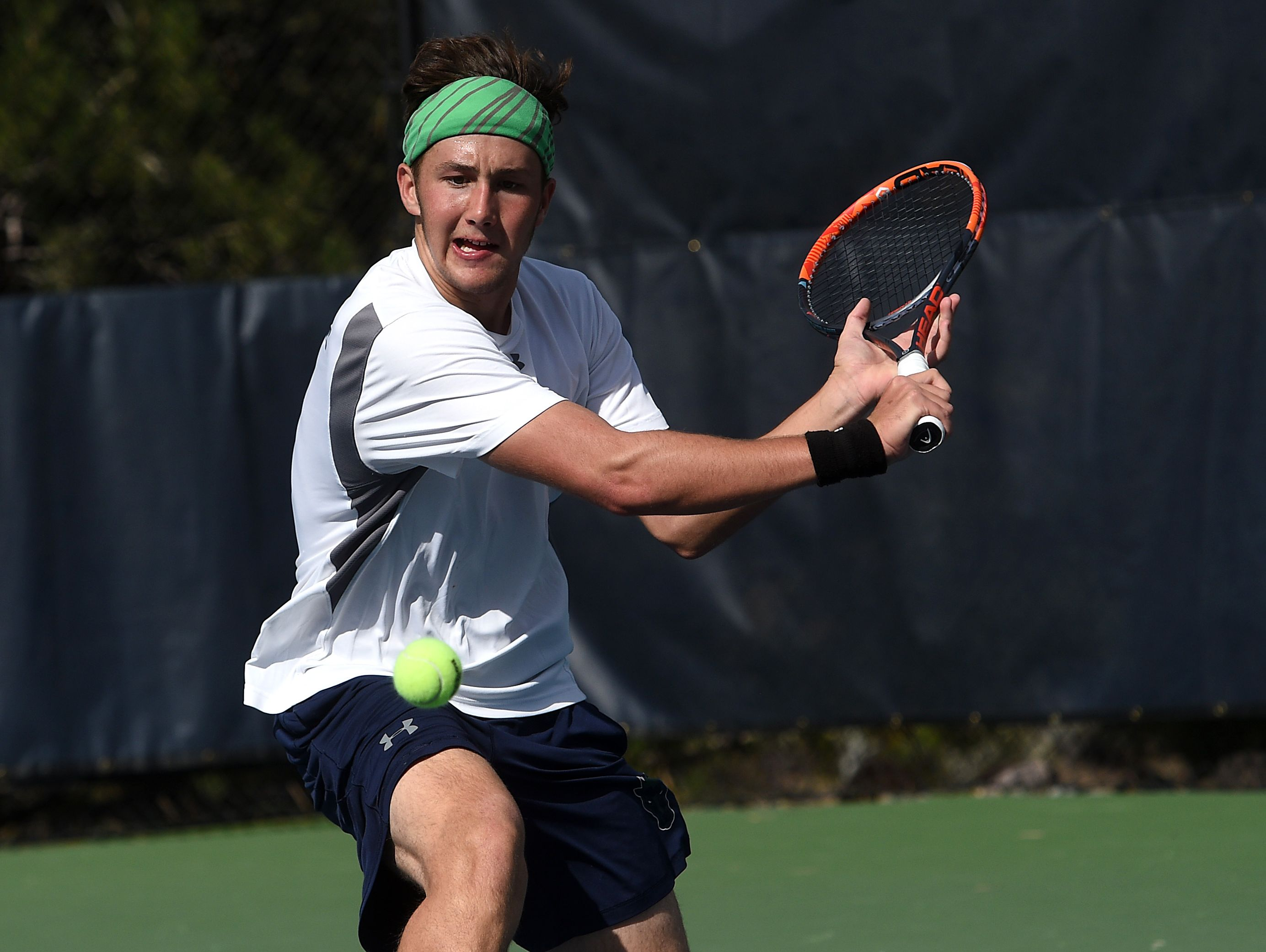 Damonte Ranch's Tim Zagar competes during the NIAA Class 4A Nevada State High School Tennis Championships at the Caughlin Athletic Club in Reno on Oct. 22, 2016.