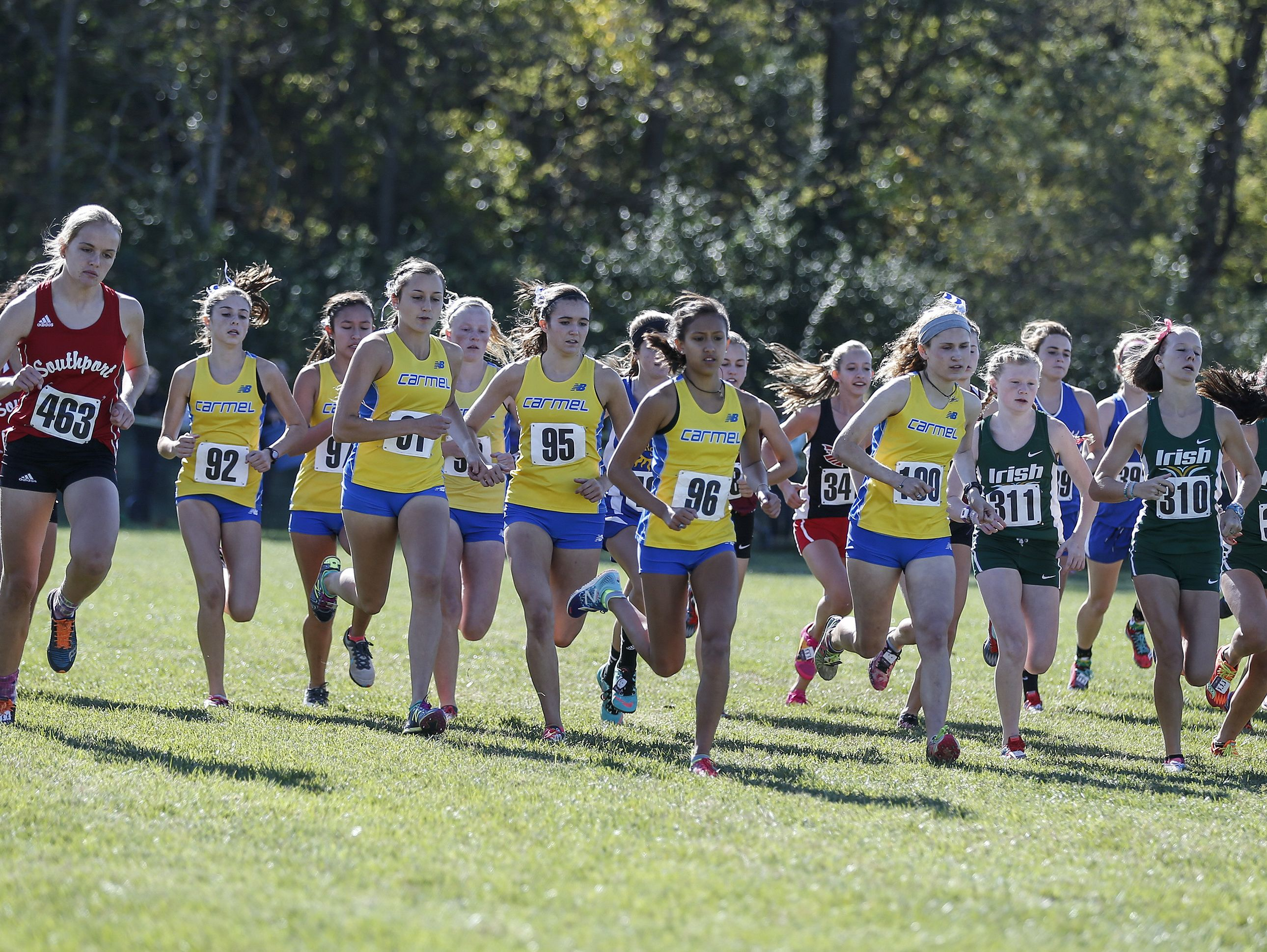 Carmel's girls led the pack in Saturday's Shelbyville Semistate at Blue River Park.