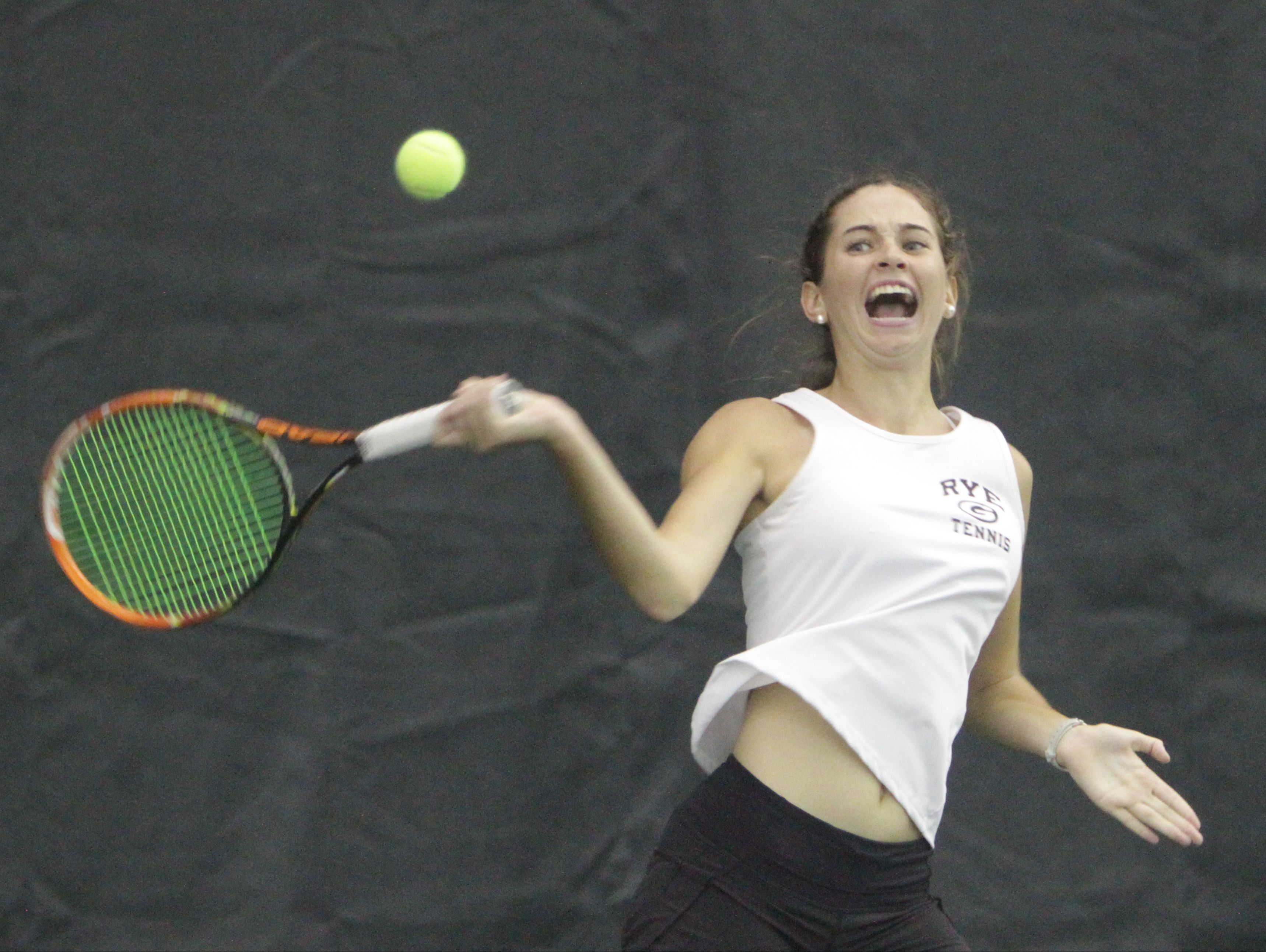 Rye's Nathalie Rodilosso, pictured here in a file photo from last week's sectional third-place game at Sound Shore Indoor Tennis on Oct. 23rd, advanced to the quarterfinals of the state championships on Saturday.