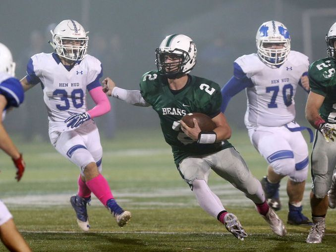 Brewster's Jack Guida earned Player of the Week honors after scoring four touchdowns in a 42-28 win over Hen Hud in the Class A quarterfinals at Brewster High School Oct. 21, 2016.
