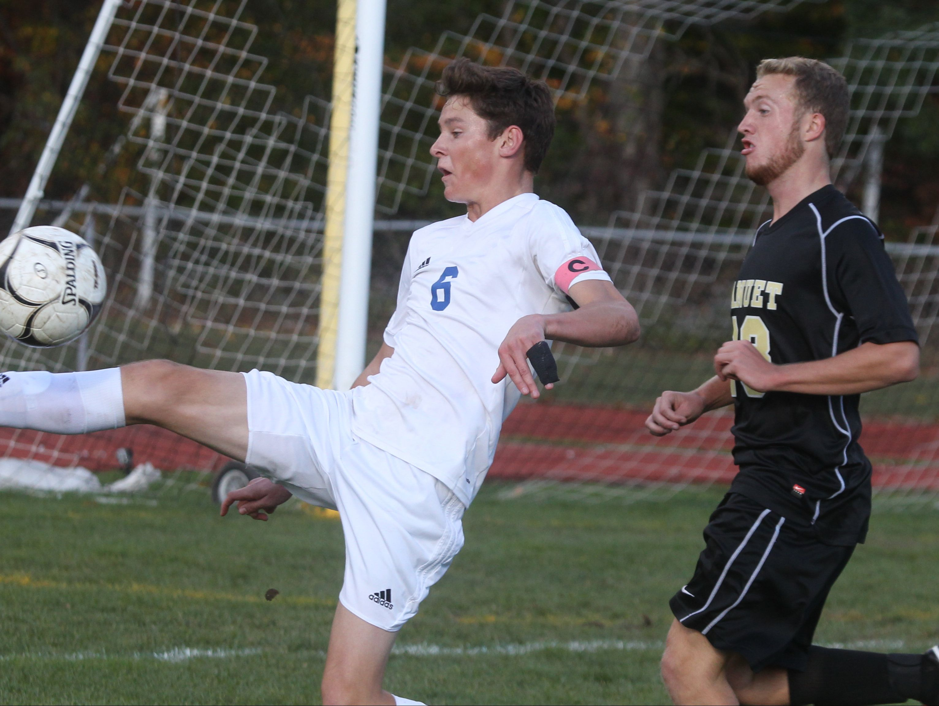 Pearl River's Kevin Doorley is pressured by Nanuet's Thomas Ryan during their Class A boys soccer quarterfinal at Pear River Oct. 24, 2016. Pearl River won 2-1 in overtime. 6 23