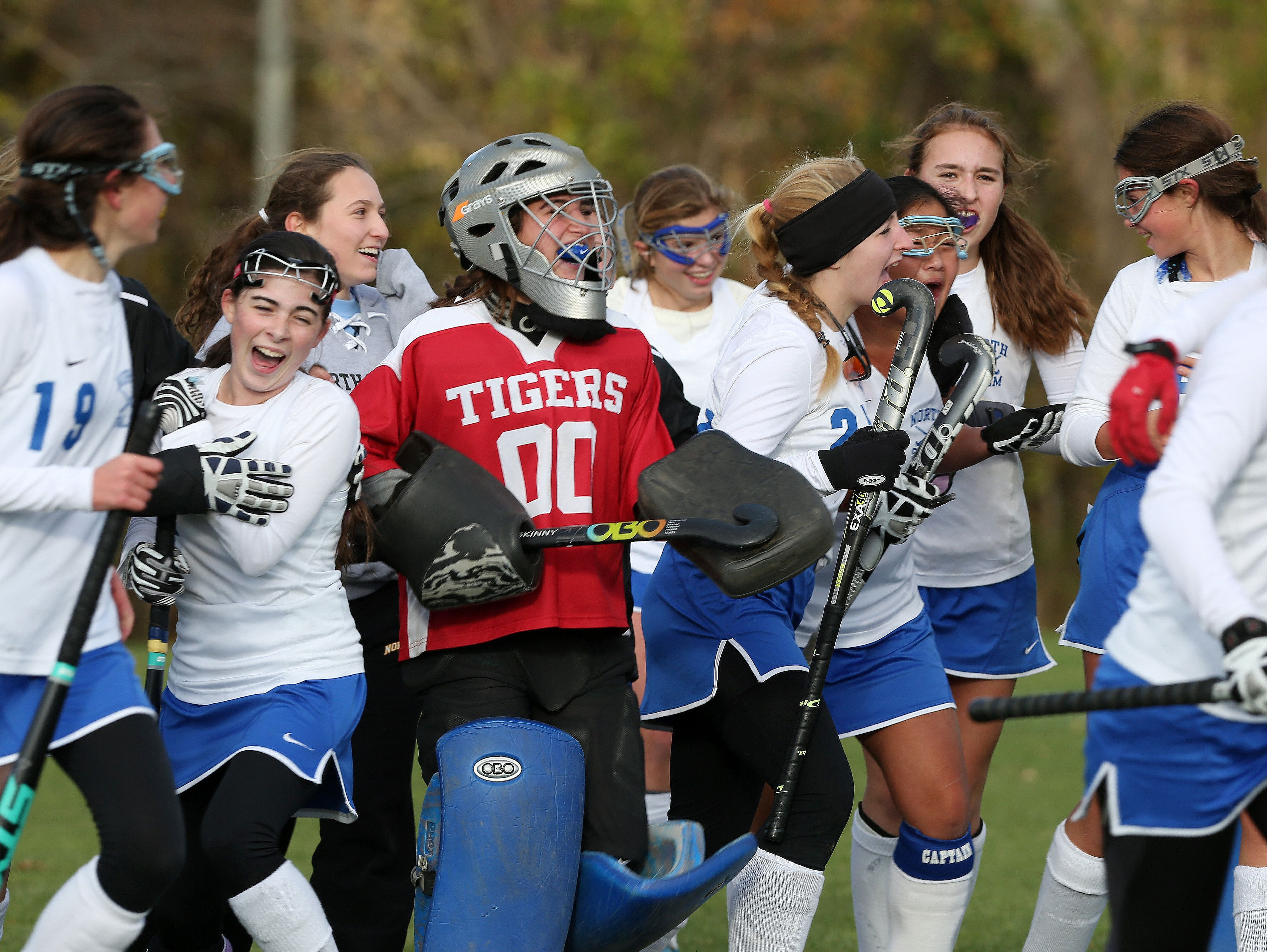 North Salem field hockey players celebrate their 1-0 victory over Pawling at North Salem High School Oct. 25, 2016.