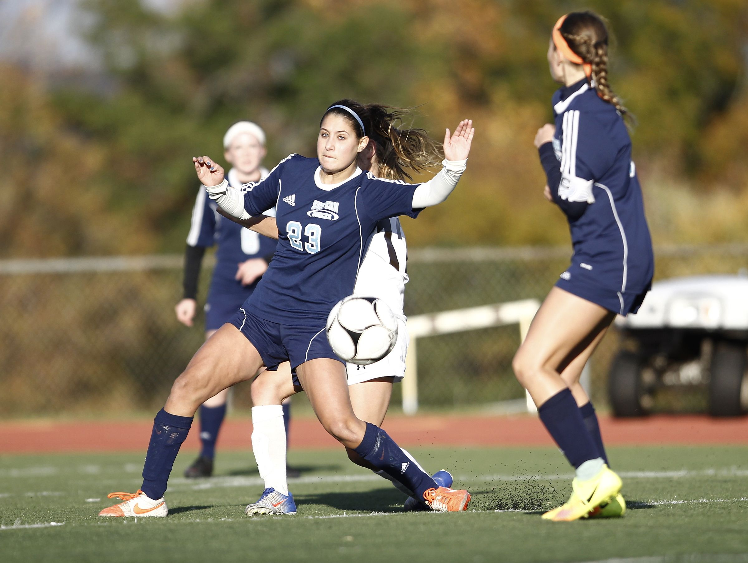 Suffern's Jackie Santangelo (23) works to block a pass during their 2-1 win over Clarkstown South in the girls Class AA soccer quarterfinal at Clarkstown High School South in West Nyack on Tuesday, October 25, 2016.