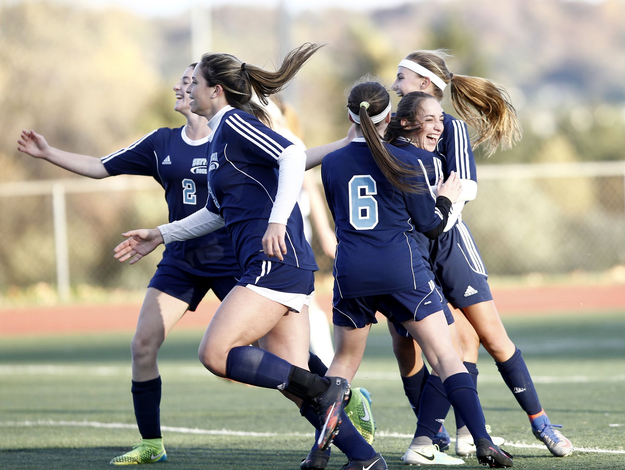 Suffern players celebrate a goal during their 2-0 win over Clarkstown South in the girls Class AA soccer quarterfinal at Clarkstown High School South in West Nyack on Tuesday, October 25, 2016.
