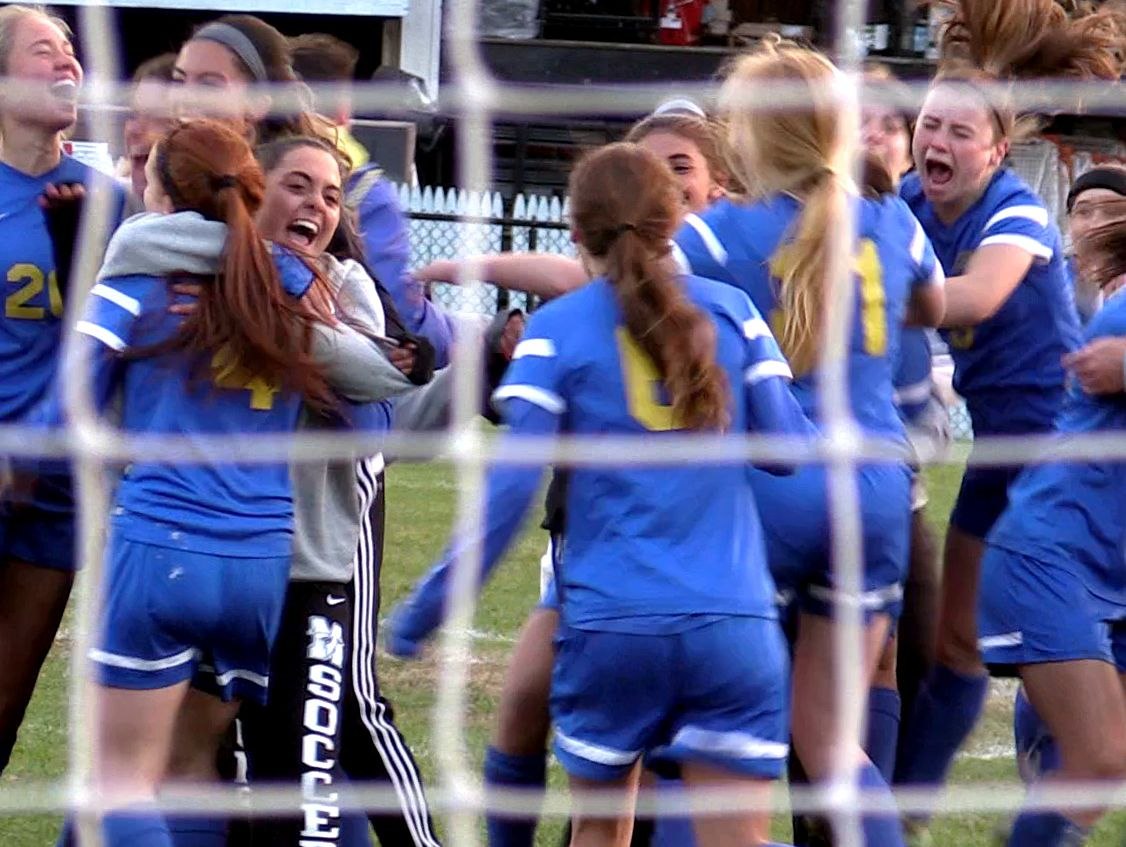 Mahopac celebrates after defeating Horace Greeley on penalty kicks to win their Class AA girls soccer semifinal at Horace Greeley in Chappaqua Oct. 25, 2016. Mahopac won the penalty kicks 4-2.