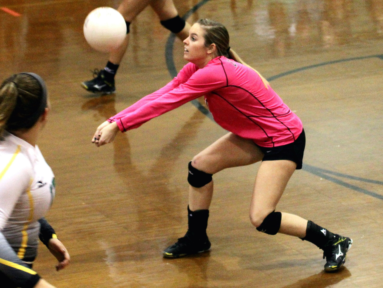 Catholic's Kayla Carrell sets up a shot against Marianna on Tuesday.