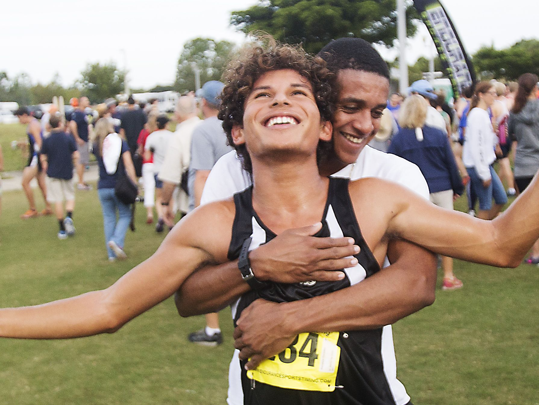 Mariner High School x-country runner Darickson Gonzalez reacts to making it to the FHSAA state championships after finishing 15th at FHSAA 3A District finals at Estero Community Park on Friday.