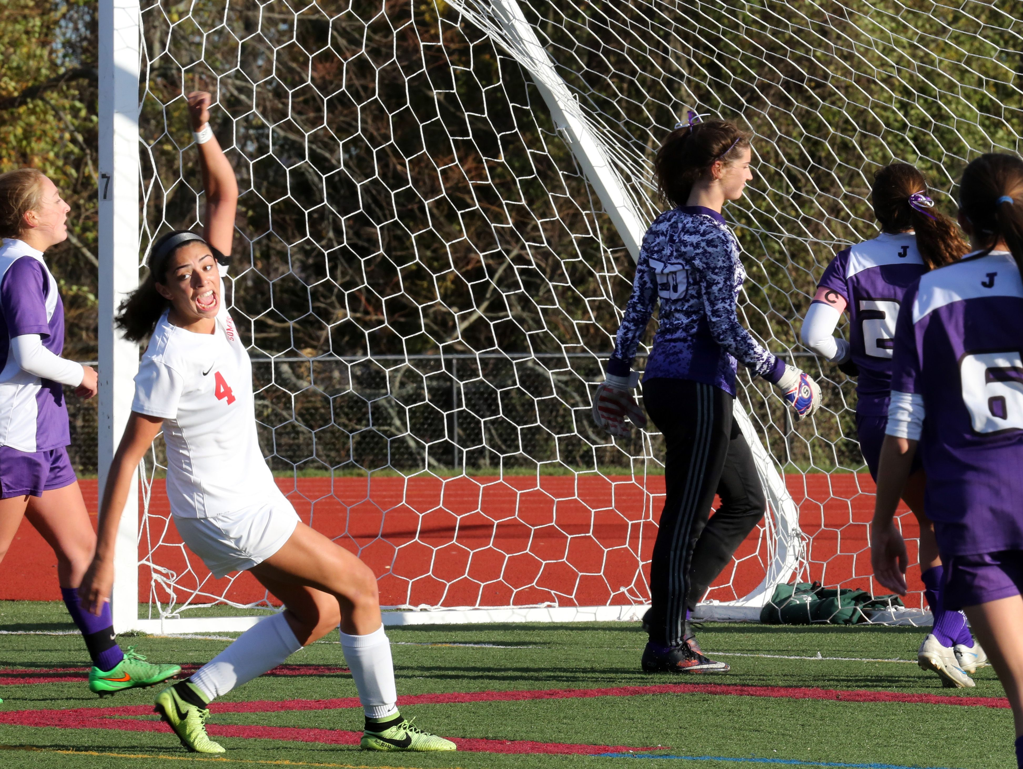 Somers Ciara Ostrander (4) celebrates scoring during Section 1 Class A girls soccer semifinal at Somers High School on Oct. 28, 2016. Somers defeats John Jay Cross River 4-2.