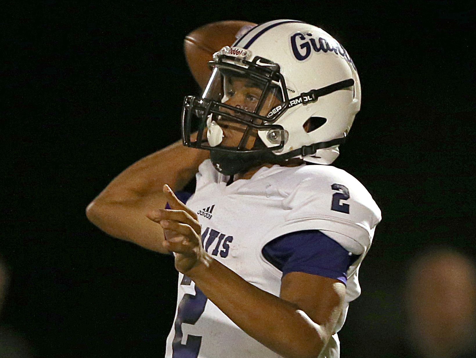 Ben Davis Giants Reese Taylor (2) passes to Ben Davis Giants Noah Thomas (8) who runs in an 85-yard touchdown during first half action of class 6A sectional 5 semifinals, Brownsburg, Ind., Friday, October 28, 2016.
