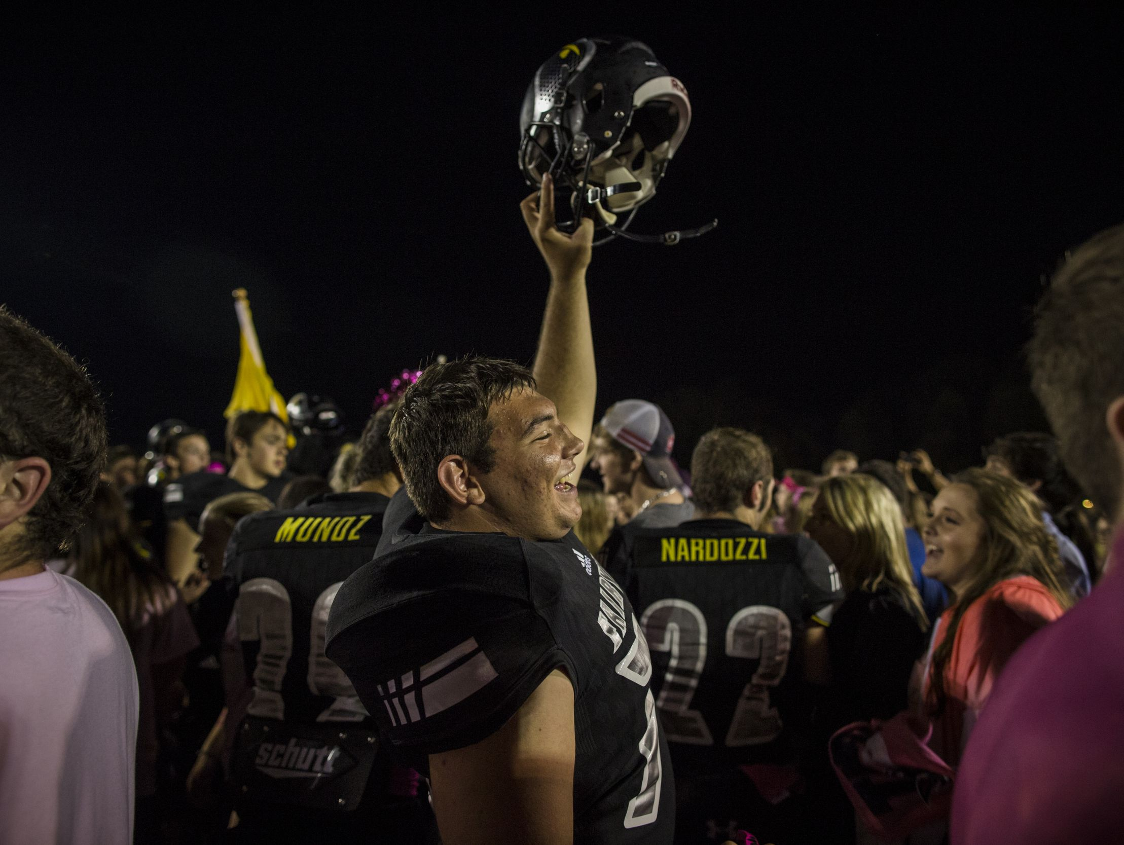 Fairview High School players celebrate after beating Harpeth High School 46-11 on their way to a 10-0 on the season.