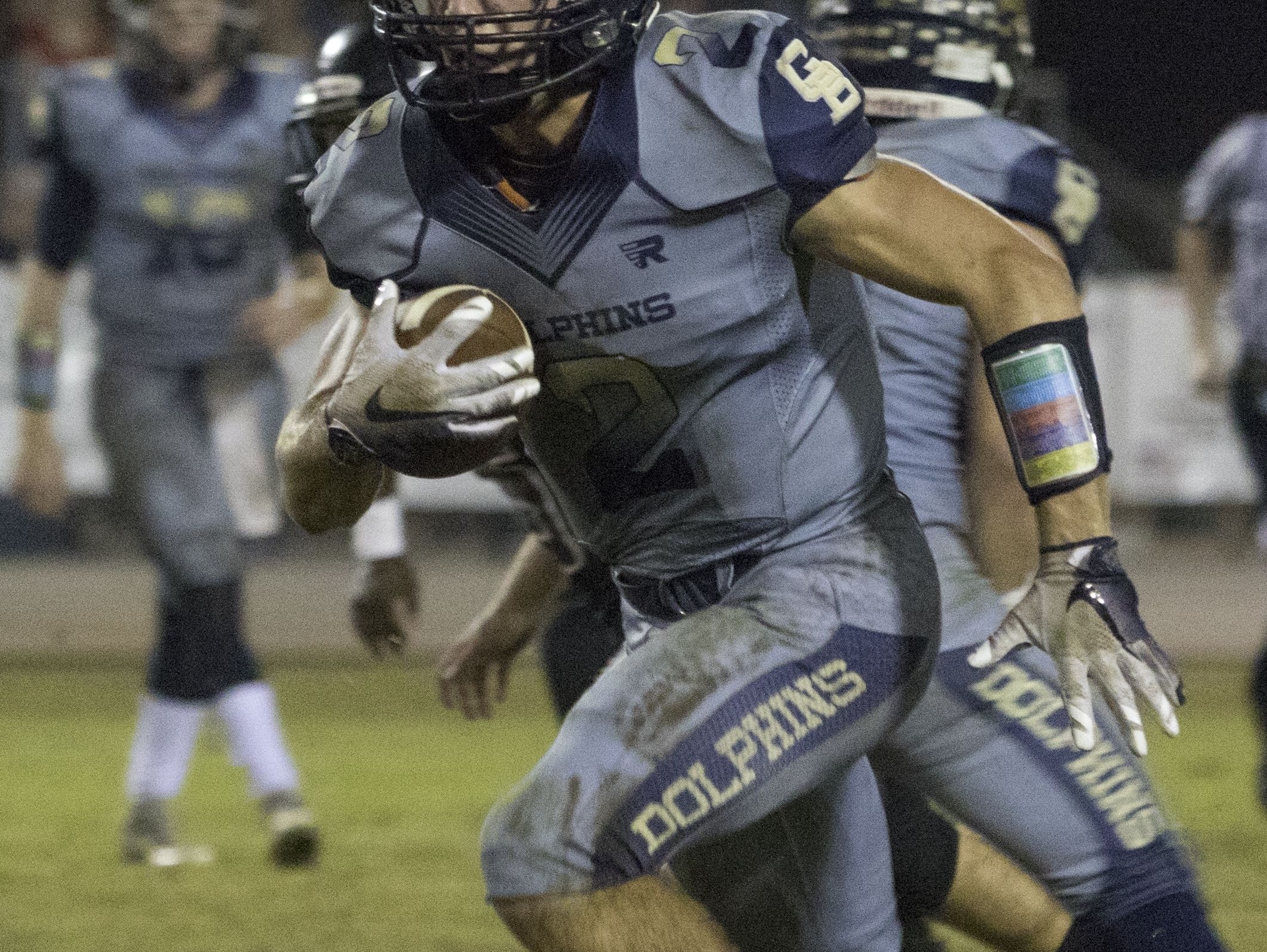 Tristan Covell (2) runs with the ball during the Gulf Breeze vs Navarre football at Navarre High School on Friday, October 8, 2016.