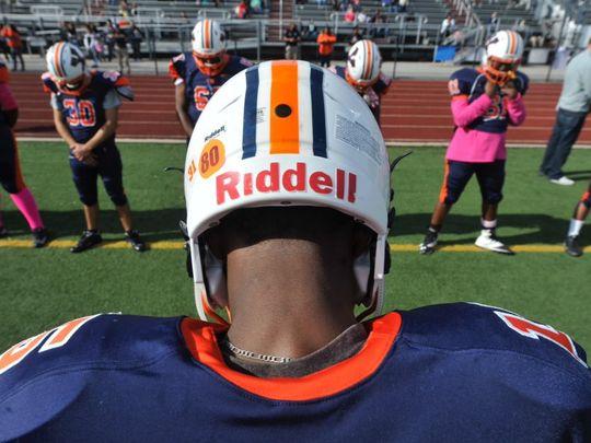 The William Penn football team honored Eugene Hillian with a No. 80 helmet decal on Saturday. (Photo: Jason Plotkin/GameTimePA.com)