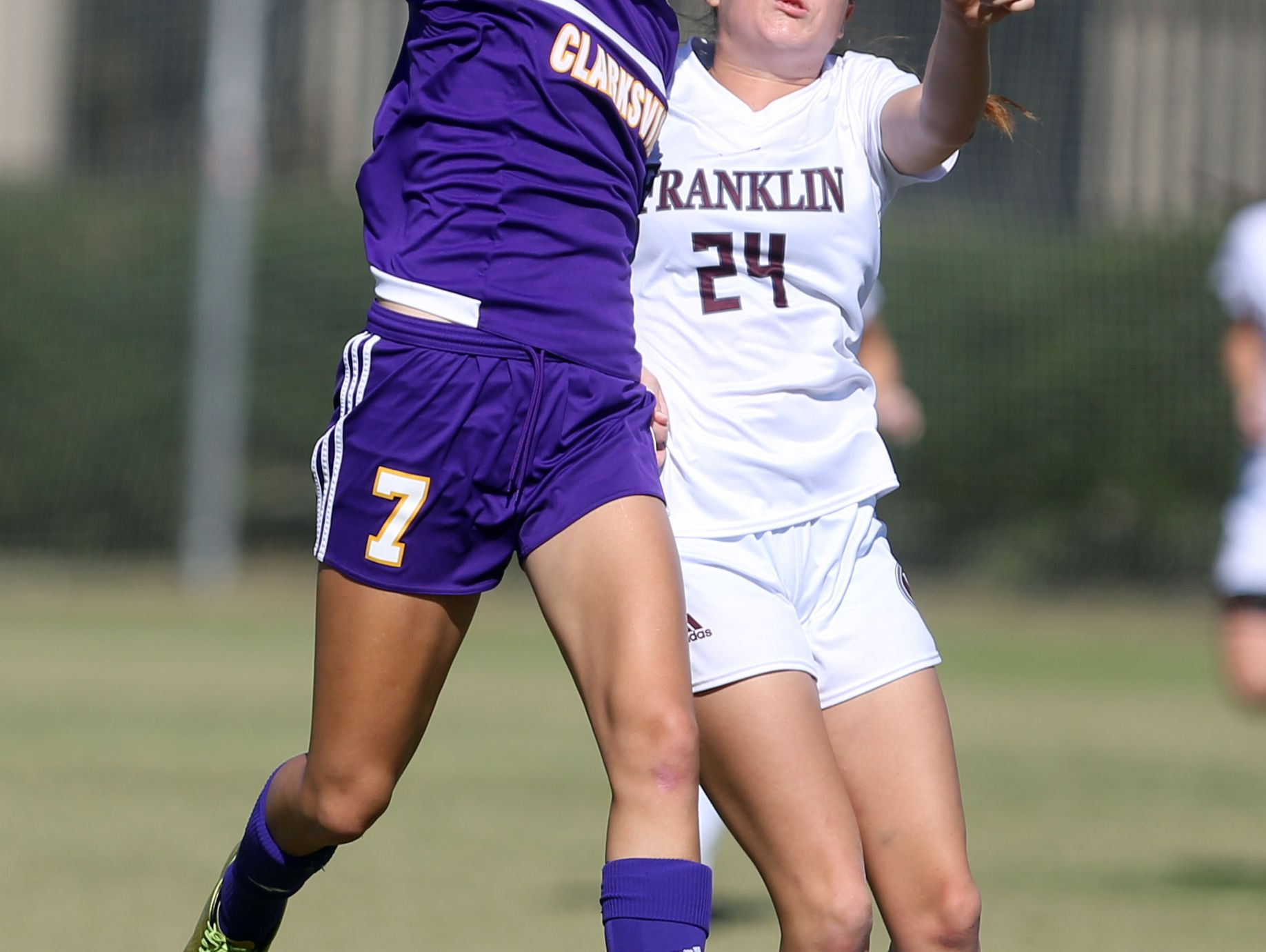 Tennessee Barkalow of Clarksville and Peyton DePriest of Franklin compete for the ball during their Class AAA Soccer Championship game Saturday October 29, 2016 at Richard Siegel Soccer Complex in Murfreesboro.
